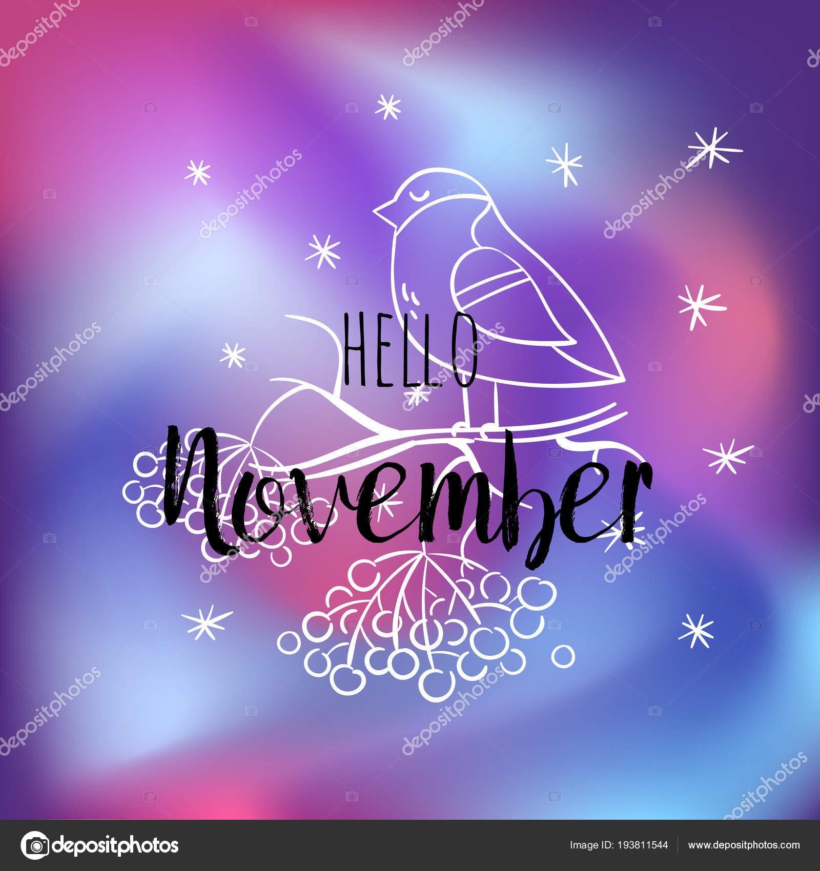 Olá cartaz de novembro Dom fafe snowlakes e rowan Imprimir motivacional para calendário planador convites folhetos cartaz t shirts