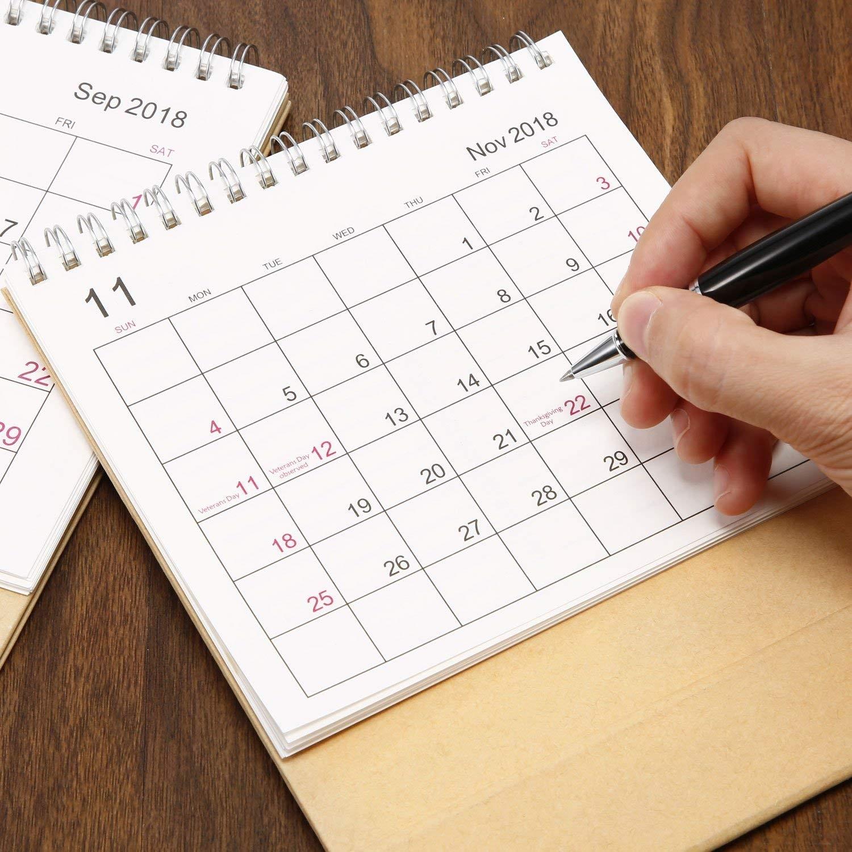 Escritorio Pad calendario 2019 mensual con soporte septiembre 2018 diciembre 2019 doble alambre vinculante Monthly planners para oficina escuela