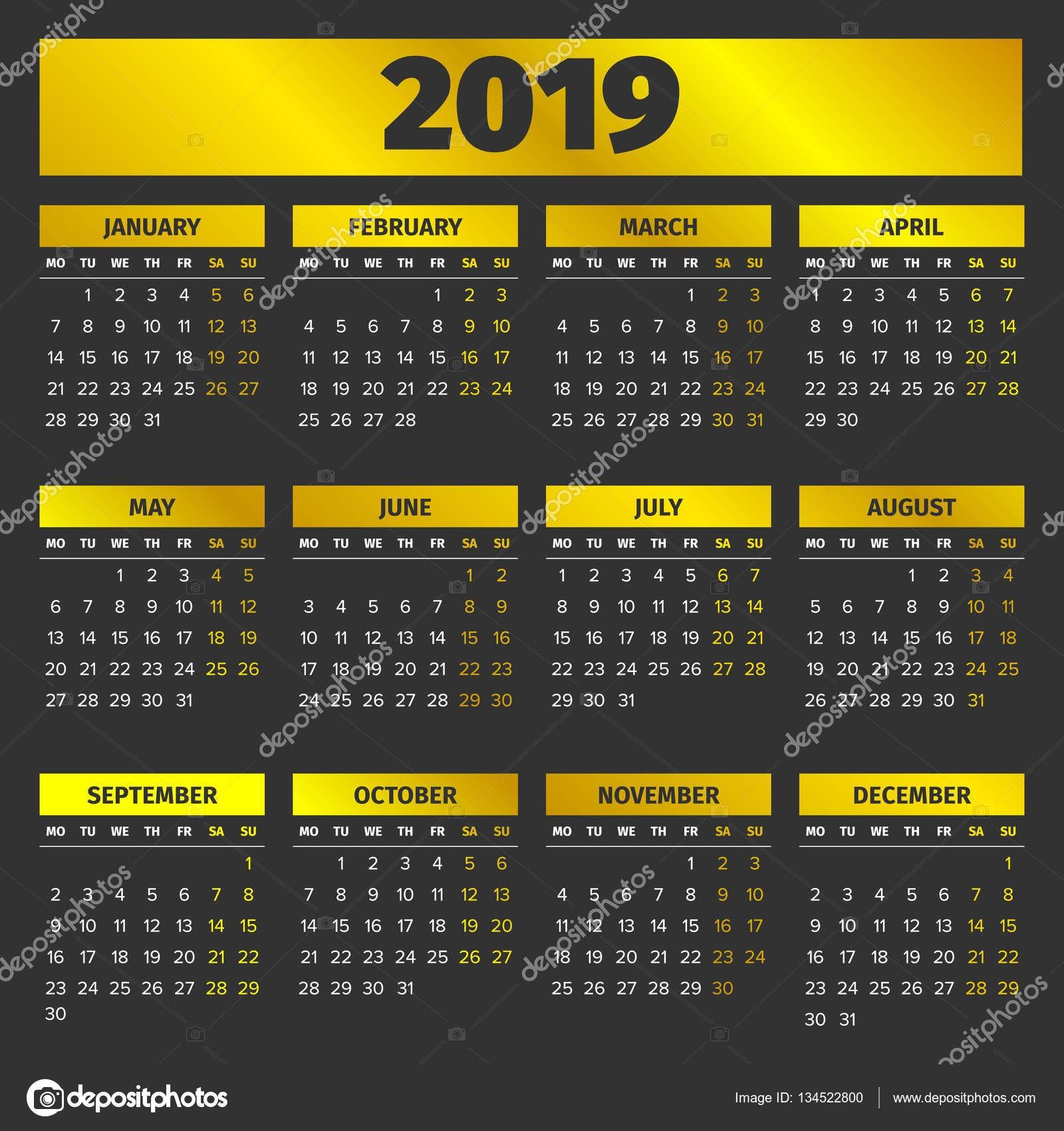 Szablon kalendarza 2019 z golden miesięcy na czarnym tle — Wektor od 123sasha