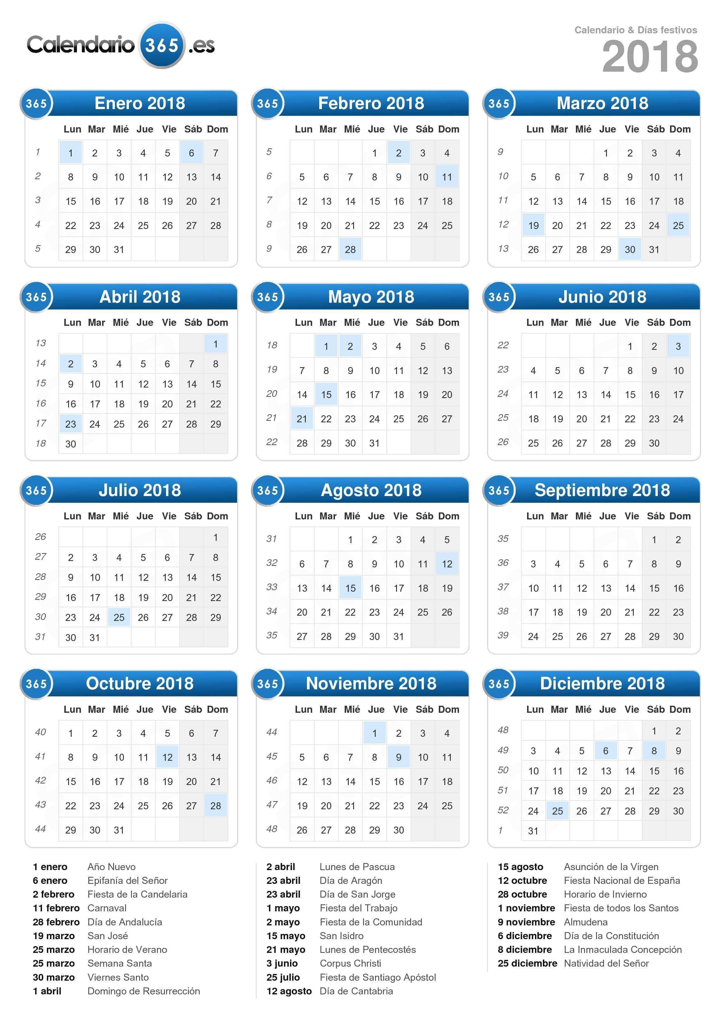 Calendario 2019 Con Festivos Para Imprimir Más Arriba-a-fecha Calendario 2018 formato Vertical Calendarios Of Calendario 2019 Con Festivos Para Imprimir Más Recientemente Liberado Determinar Calendario 2019 In Excel