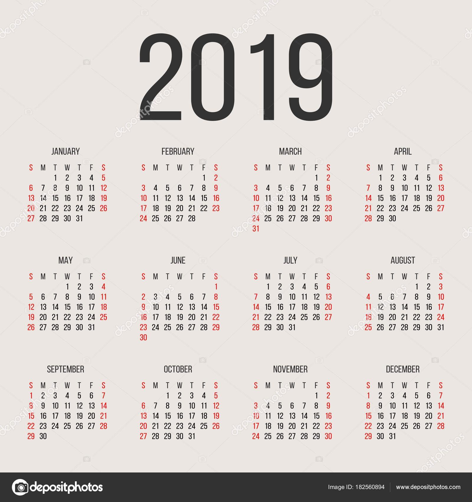 Kalendarzowy 2019 roku wektor szablon projektu Rok kalendarzowy 2019 proste Wektor koło kalendarzowy 2019 Tydzień zaczyna się od niedzieli i kończą w