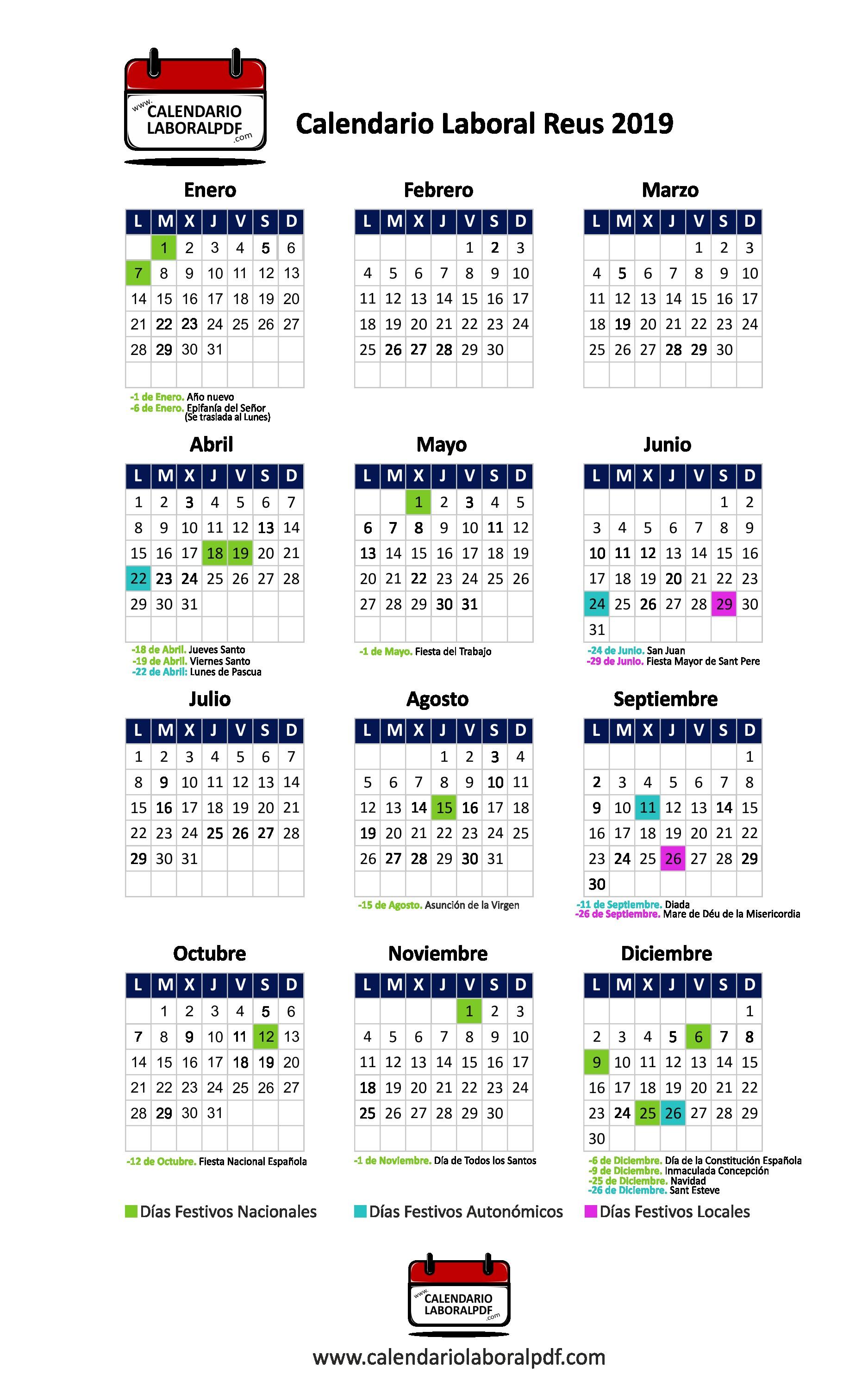 Calendario laboral reus ¡descárgalo gratis png 1875x2969 Pascua 2019