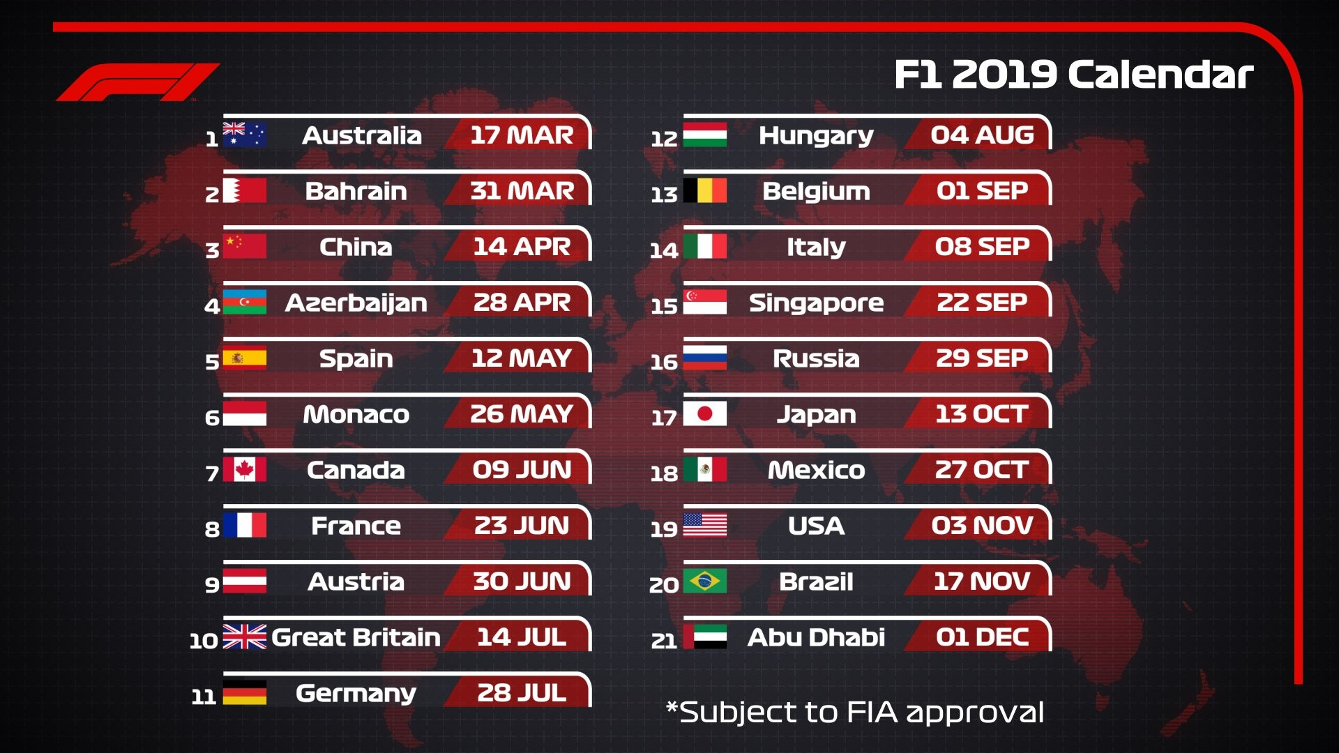 "Formula 1 on Twitter ""2019 DRAFT F1 CALENDAR 🗓 21 RACES 9 MONTHS 1 CHAMPIONSHIP… """