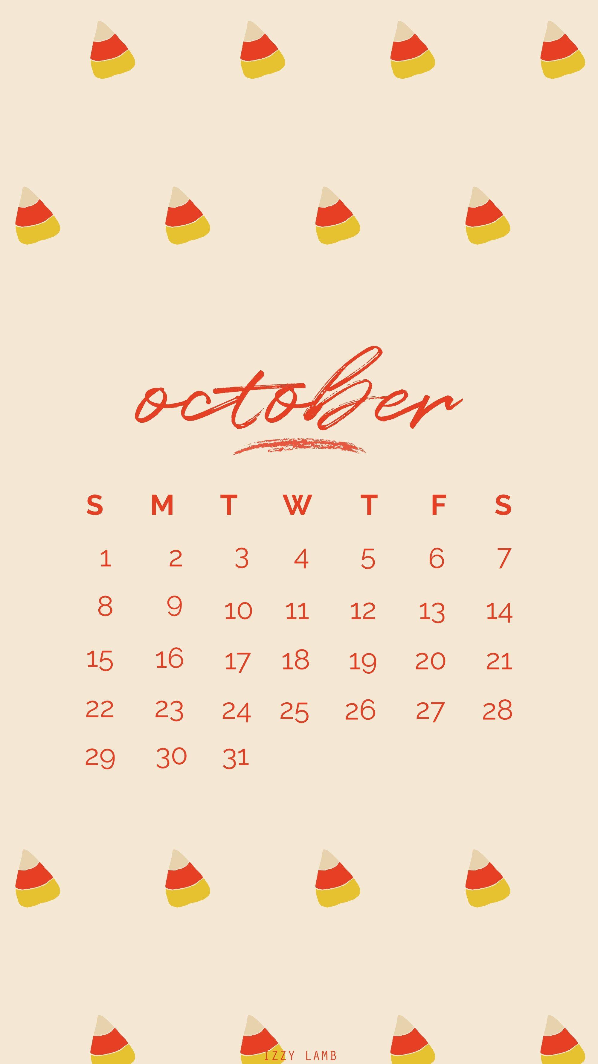 October Calender wallpaper iphone october octoberwallpaper iphonebackground background fall