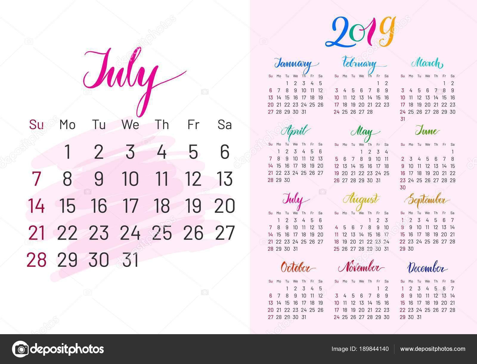Barevné Plánovač 2019 července odděleně — Stock Vektor © nastya