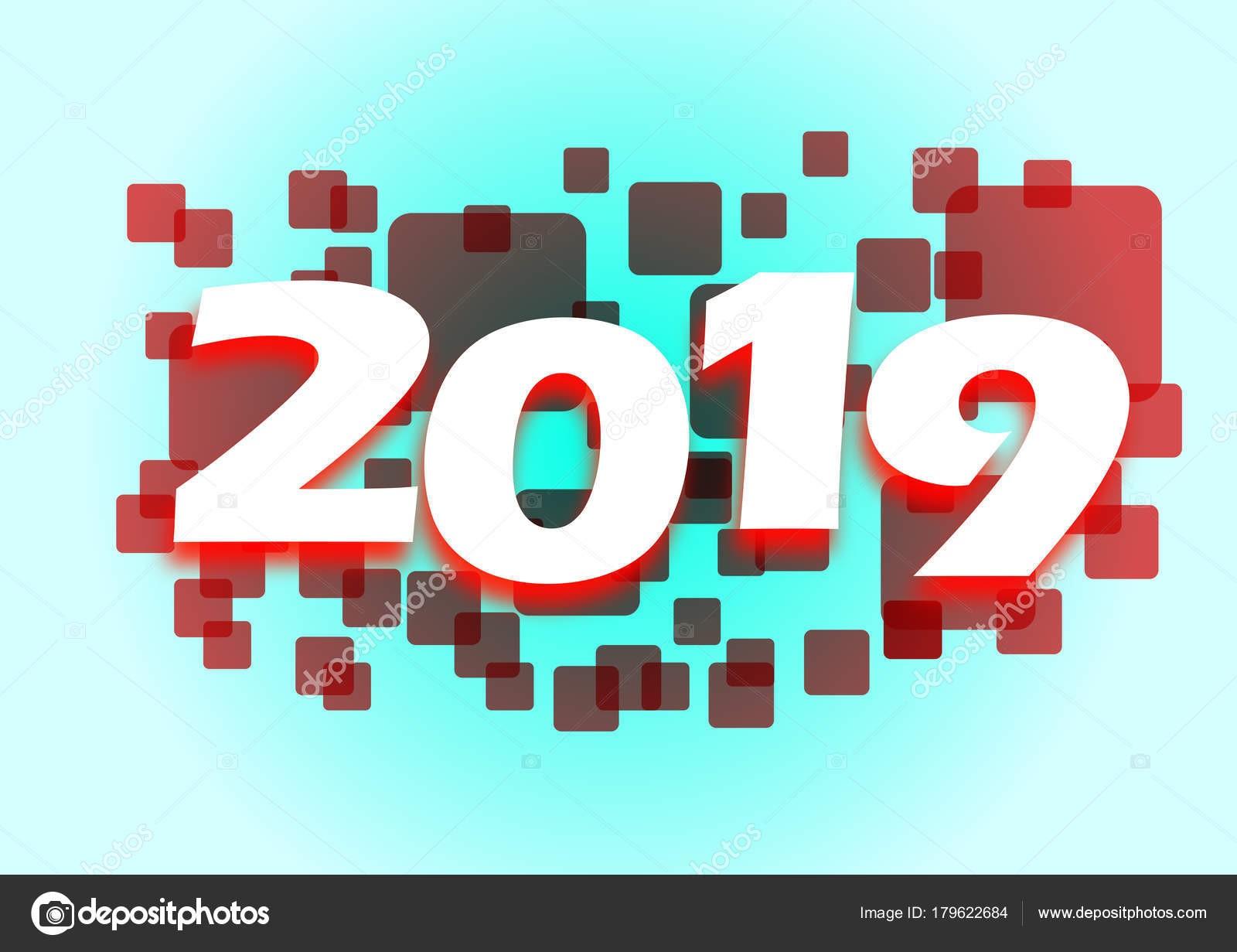 Banner Para Ano 2019 Olhar Tecnol³gico Feito Através Pra§as — Vetores de Stock
