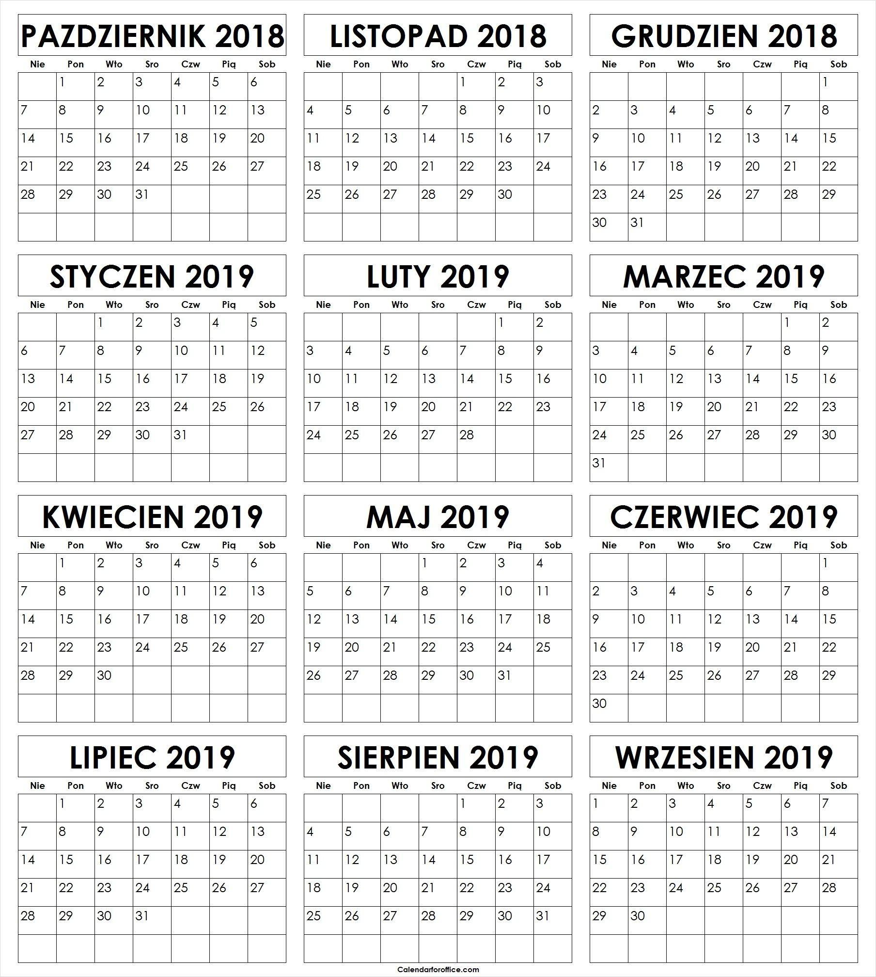 Październik 2018 Do Wrzesień 2019 Kalendarz