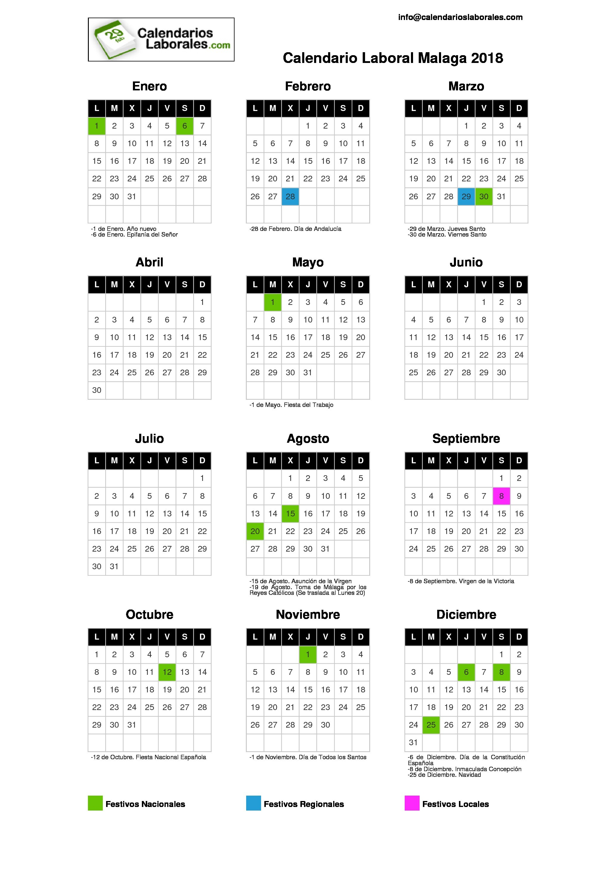 Calendario 2019 Festivos Malaga Más Recientemente Liberado Calendario Octubre 2018 Colombia T