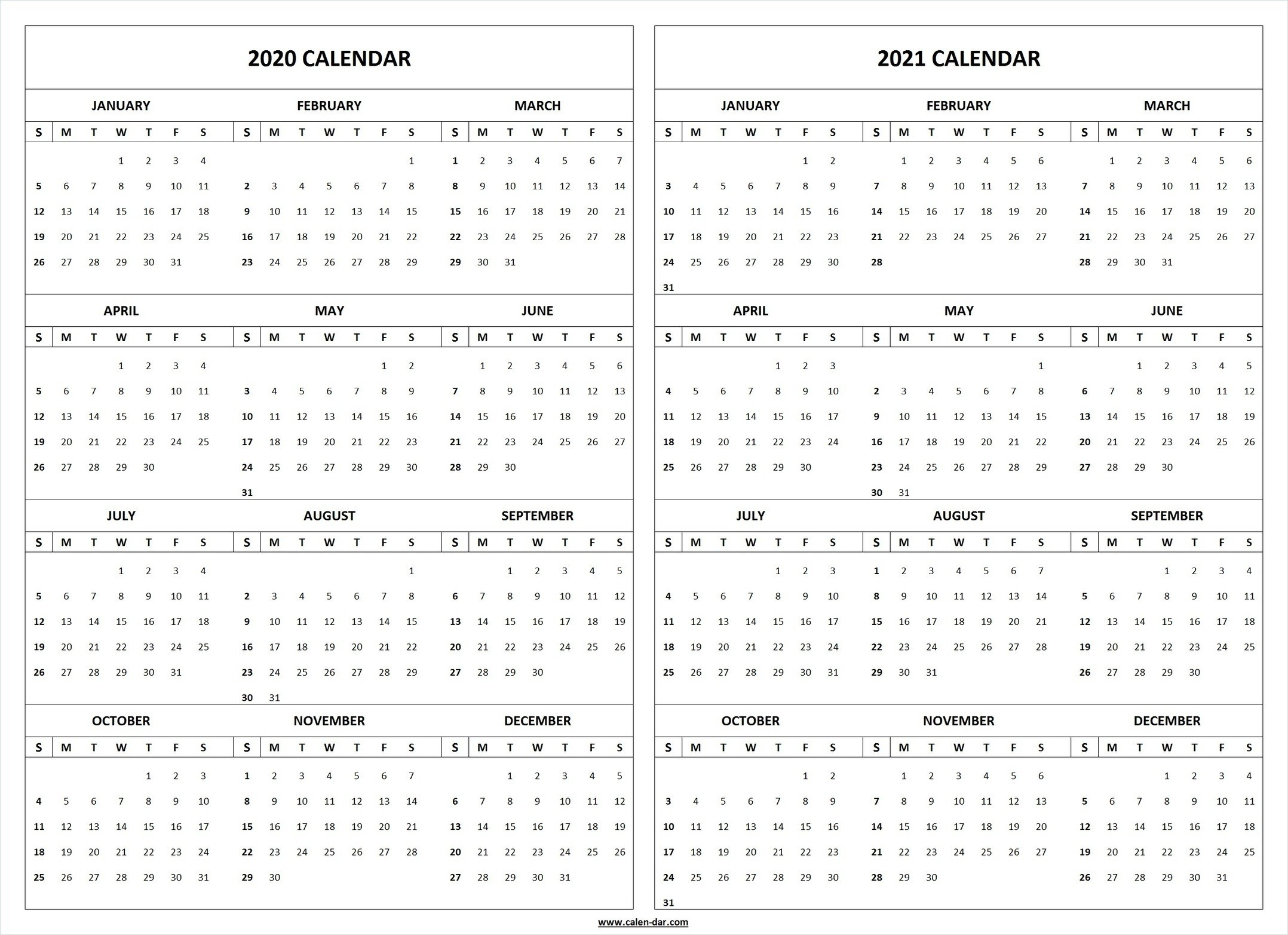 2020 2021 Calendar Printable Template