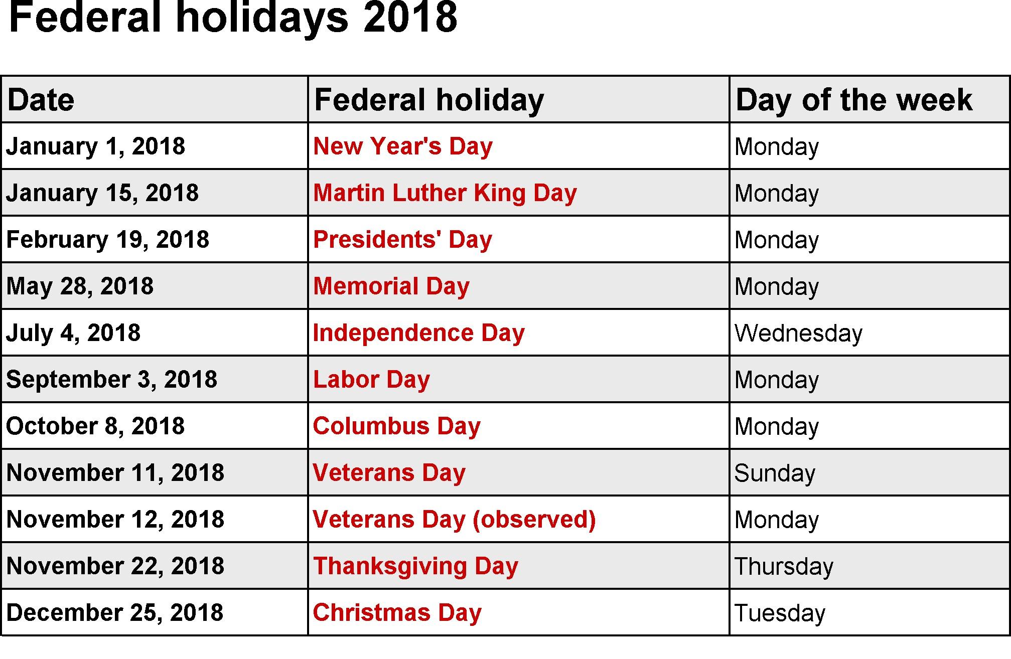 2018 Federal Holidays USA UK National Holidays Public Holidays 2018