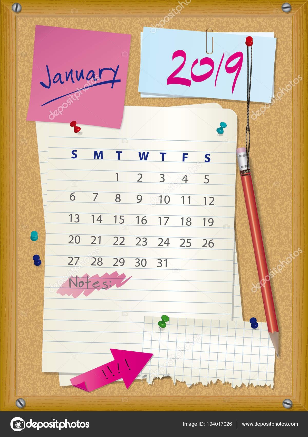 Kalendarzowy 2019 miesiąca stycznia tablica korkowa z notatek tydzień rozpoczyna się w niedzielę — Wektor od hancik