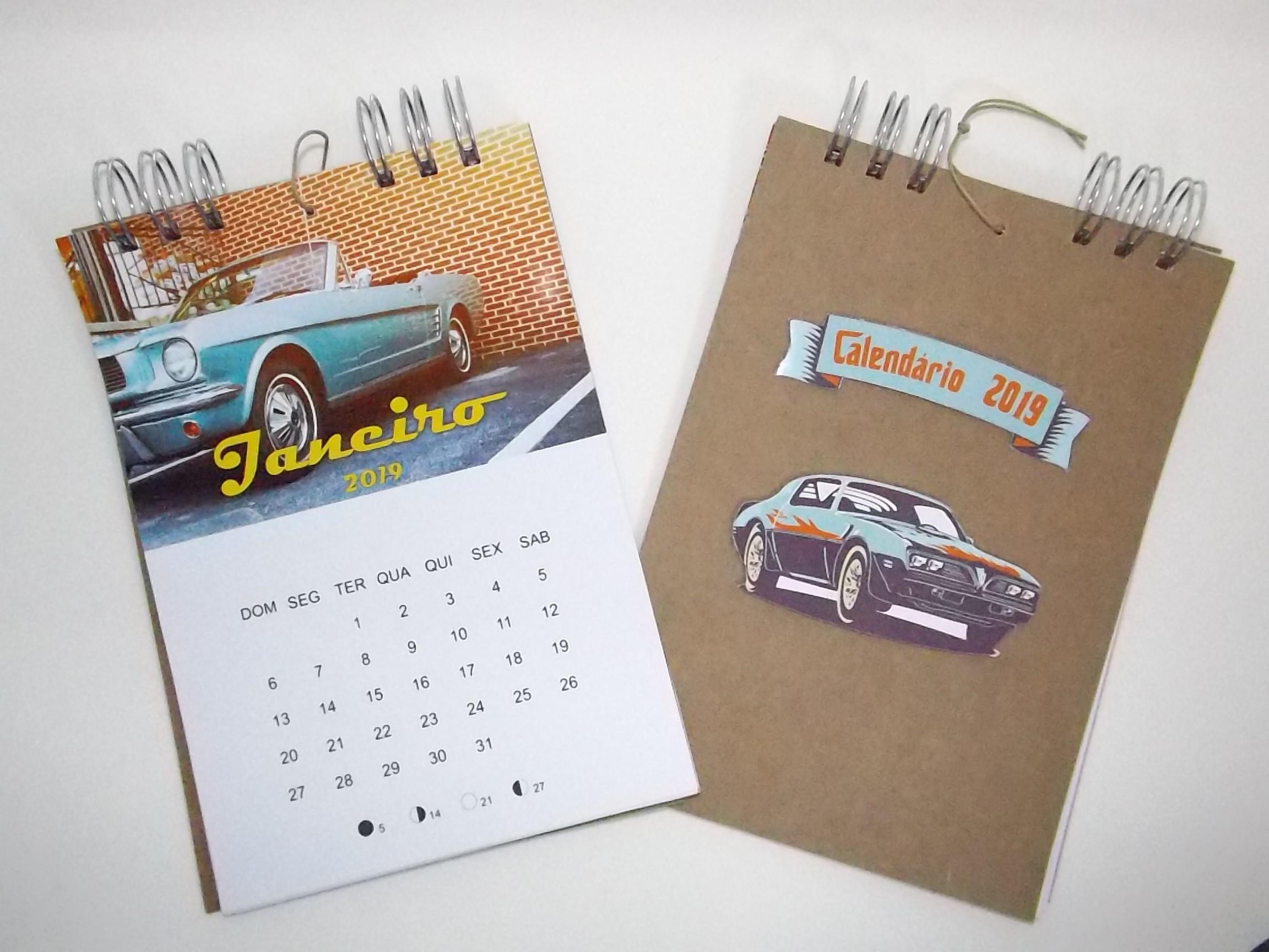 calendario 2019 tema carros antigos calendarios