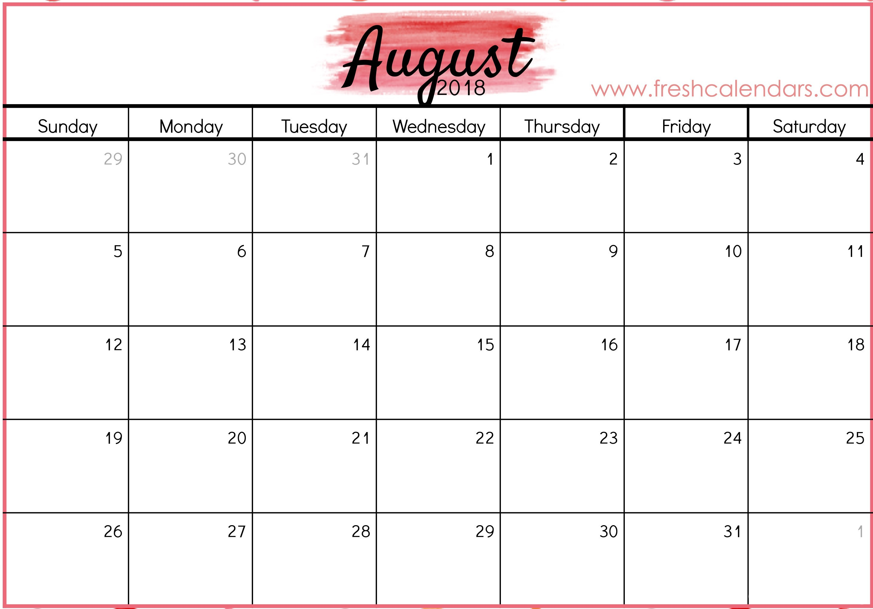 Labeled August Calendar Printable 2016 2017 Free
