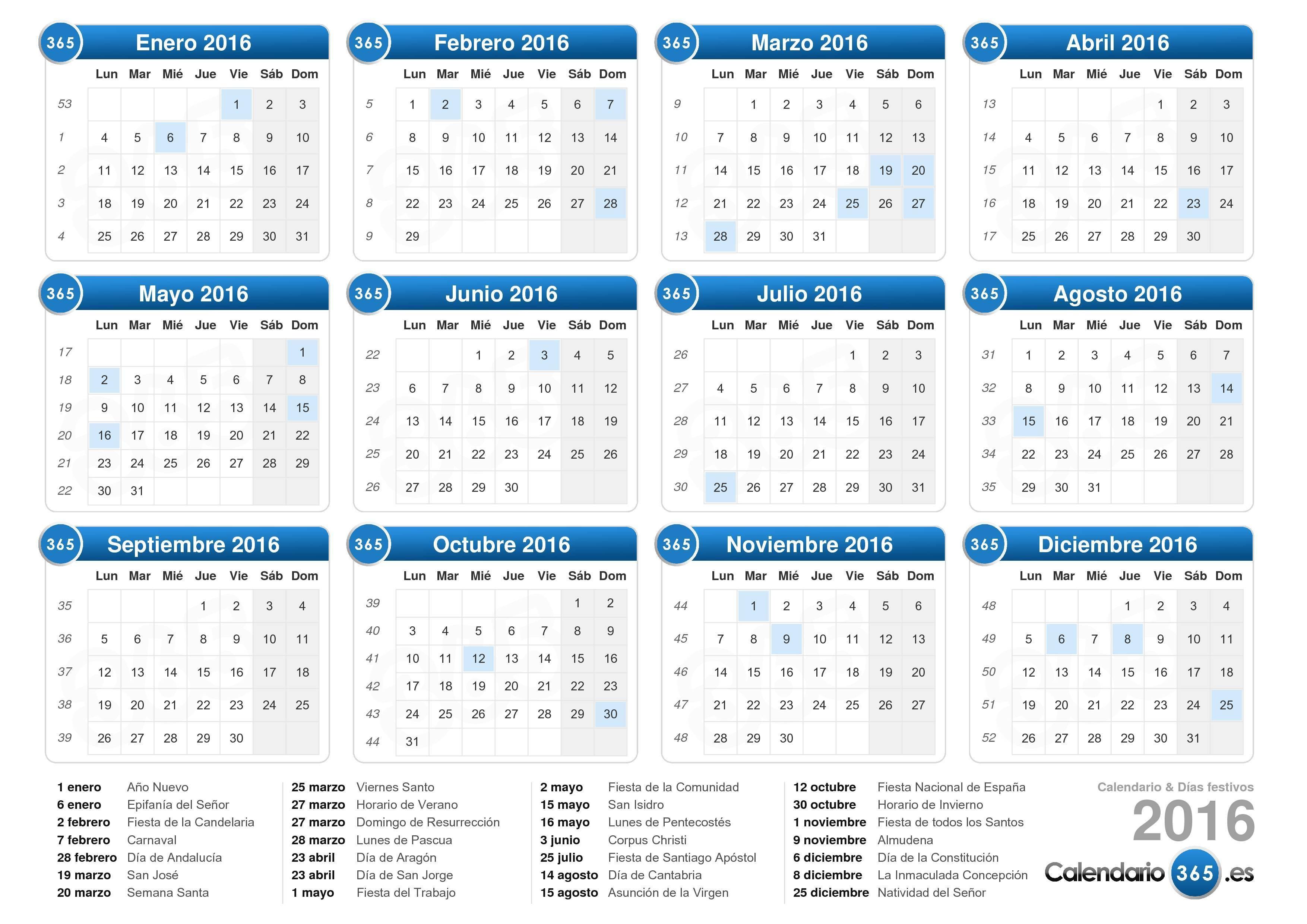 Calendario 2016 for Calendario lunar 2016 colombia