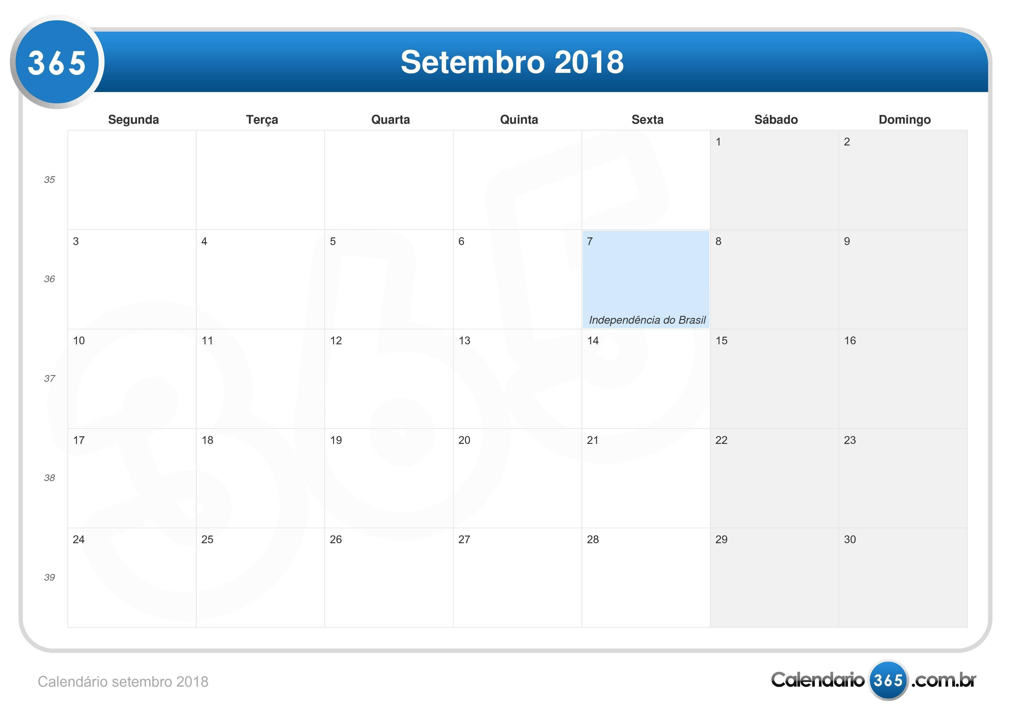 calendário setembro 2018