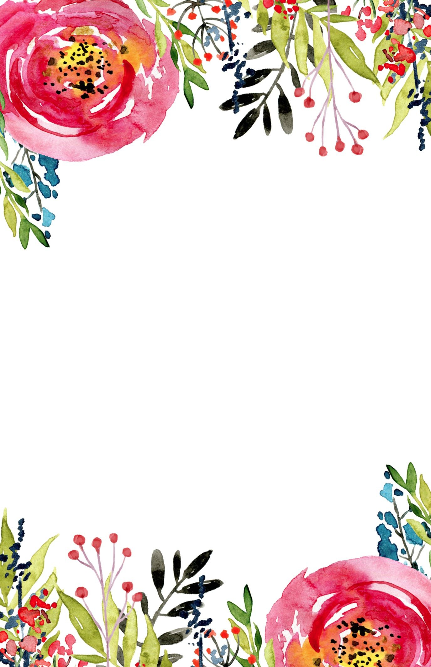 Flower intvitation template 1 375—2 125 pixeles