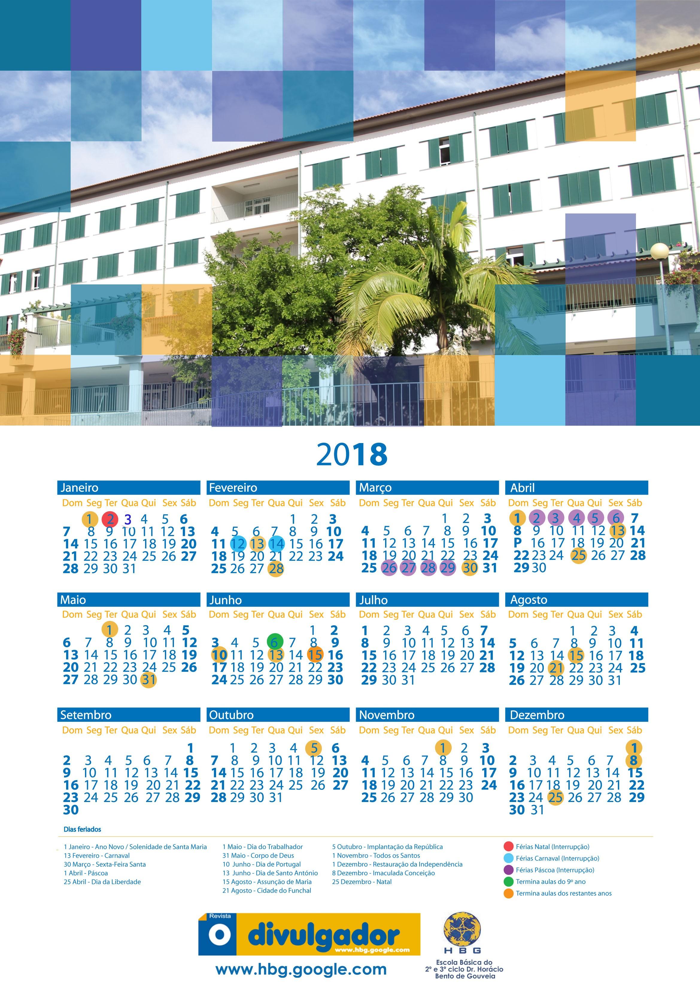 3º ciclos Dr Horácio Bento de Gouveia um Feliz Ano Novo repleto de esperan§a e prosperidade e disponibiliza a todos o Calendário do Ano Novo 2018