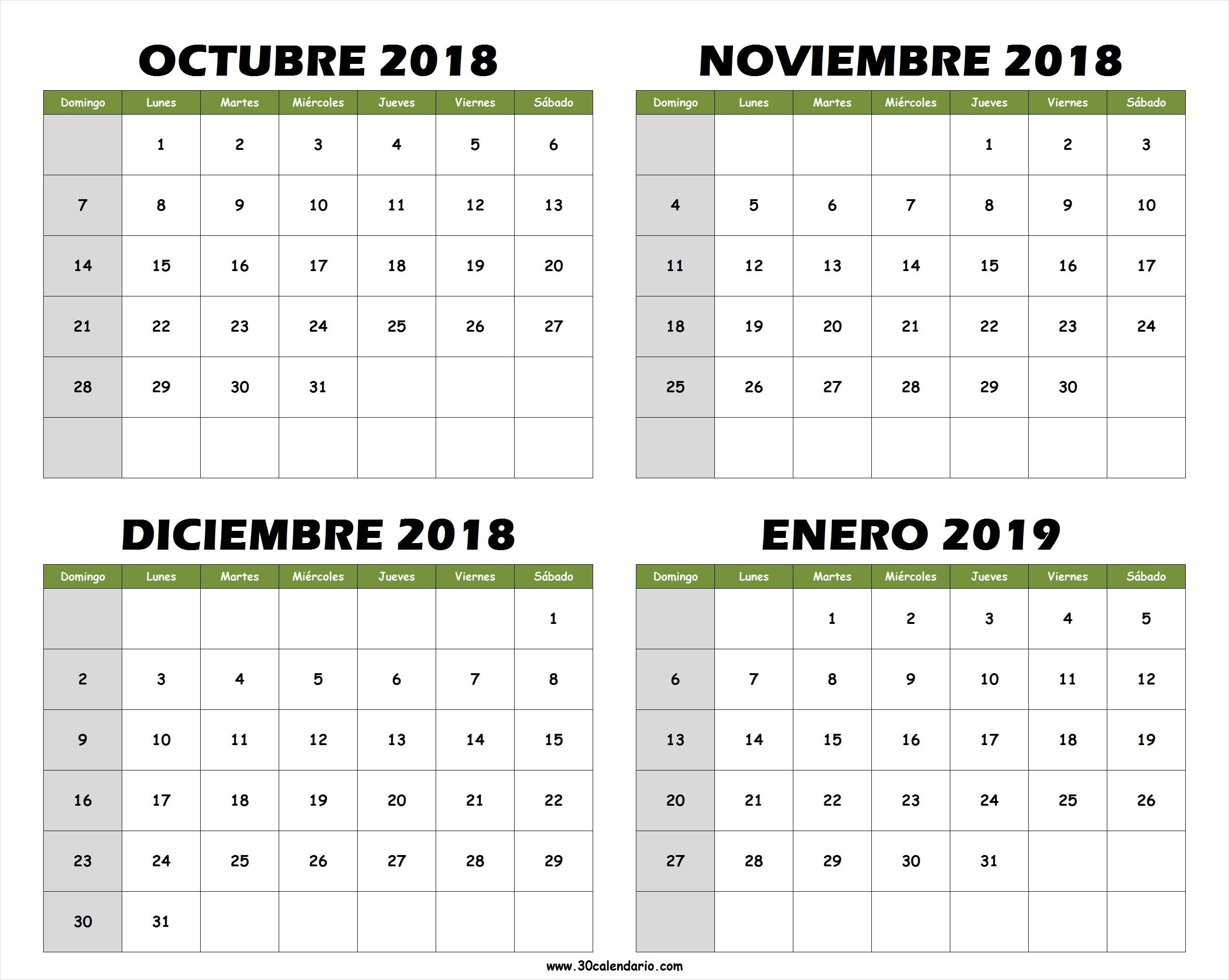 Blanco Calendario Octubre Noviembre Diciembre 2018 Enero 2019 PNG
