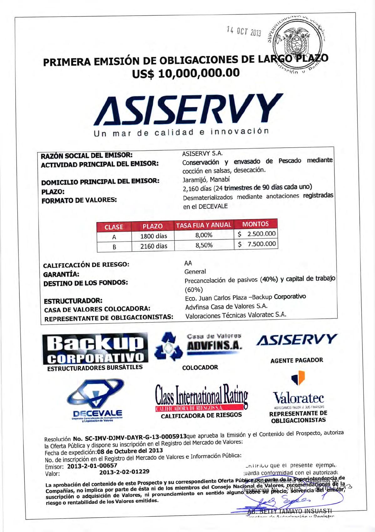 Prospecto OBL Asiservy