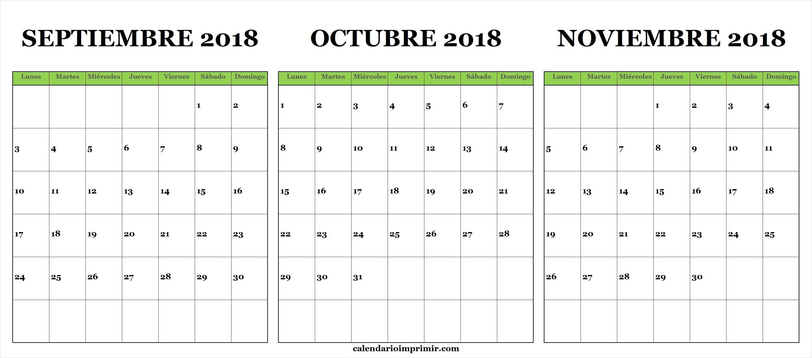 Calendario De Septiembre Octubre Noviembre De 2018 A Partir Del Lunes