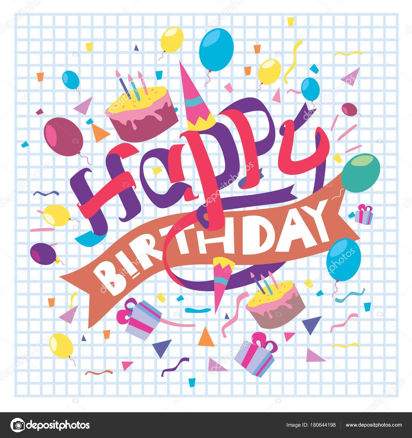 tipografa cumpleaos feliz vector diseo tarjetas felicitacin cartel con globo u vector de stock