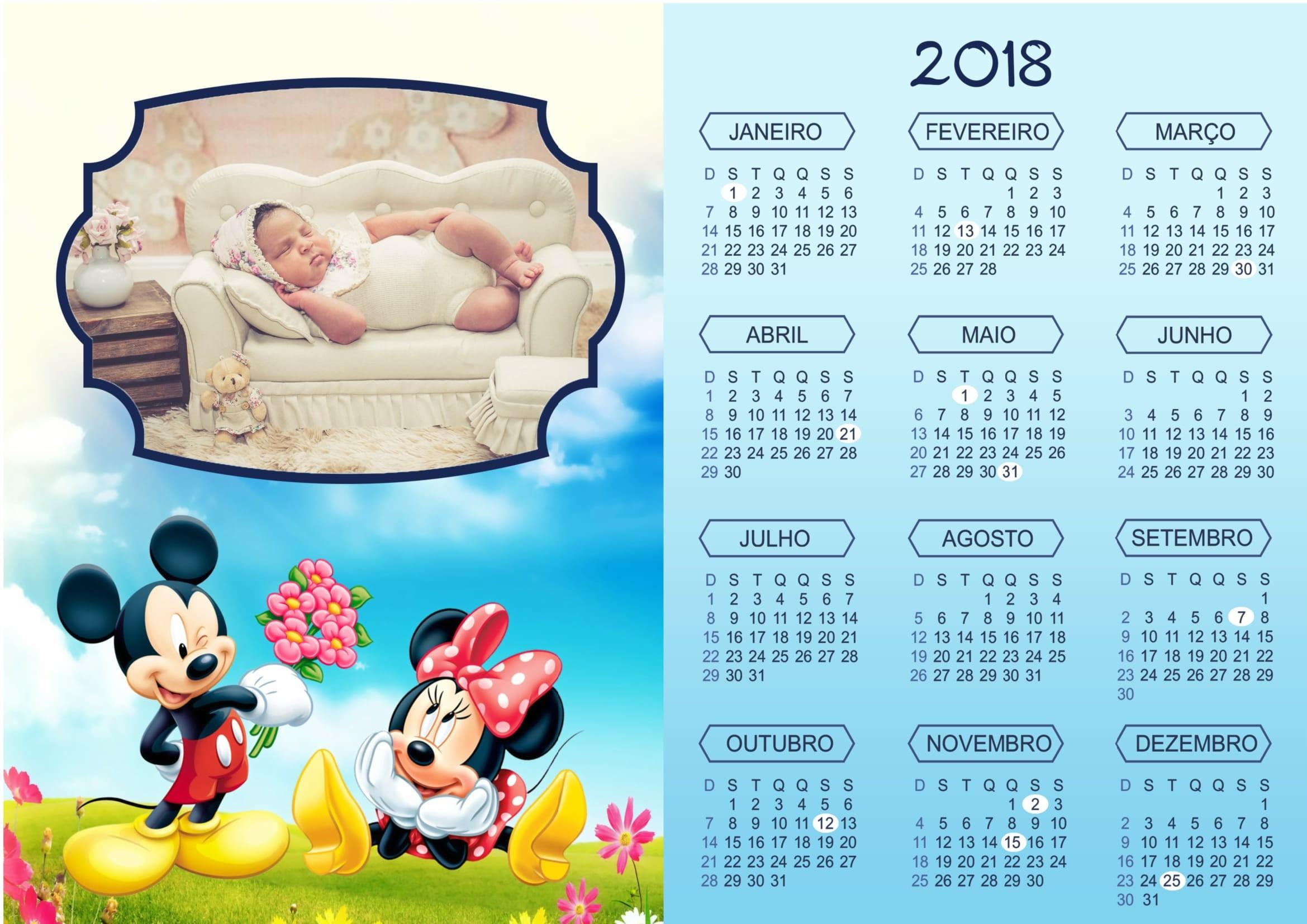 Calendário 2018 Moldura Mickey e Minnie Mouse no Natal