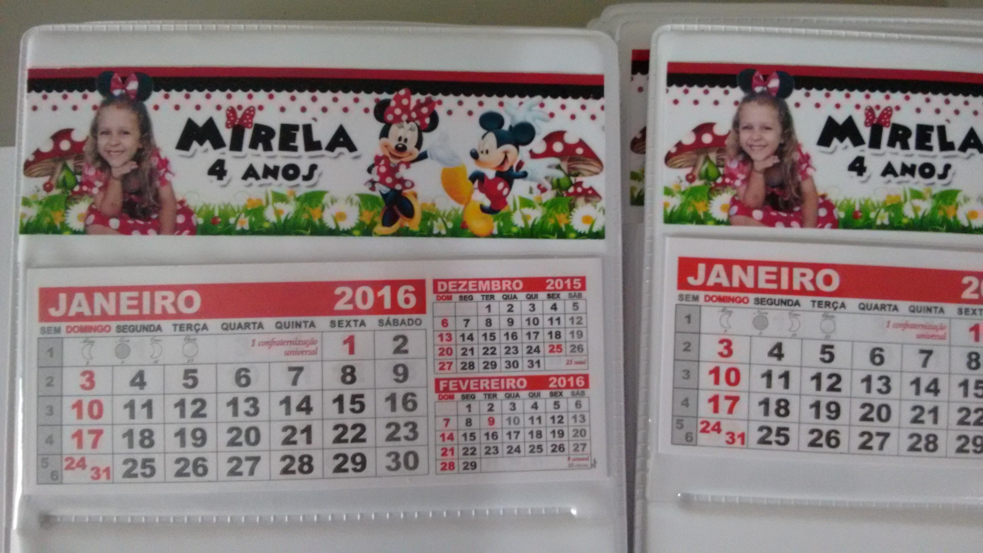 calendario de mesa minnie menie vermelha