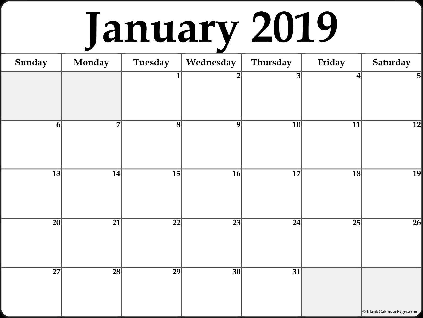 january calendar 2019 printable printable calendar 2018 template 1