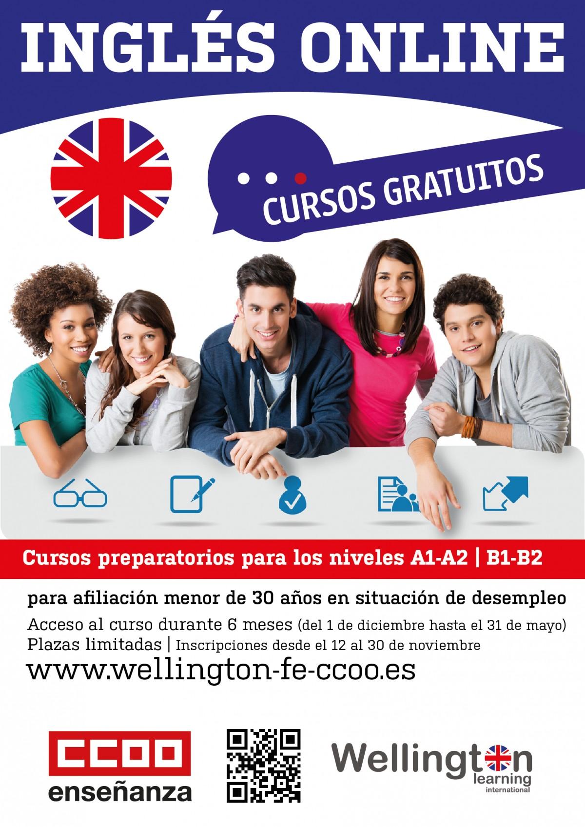 Cursos gratuitos de inglés para personas afiliadas menores de 30 a±os en situaci³n de desempleo