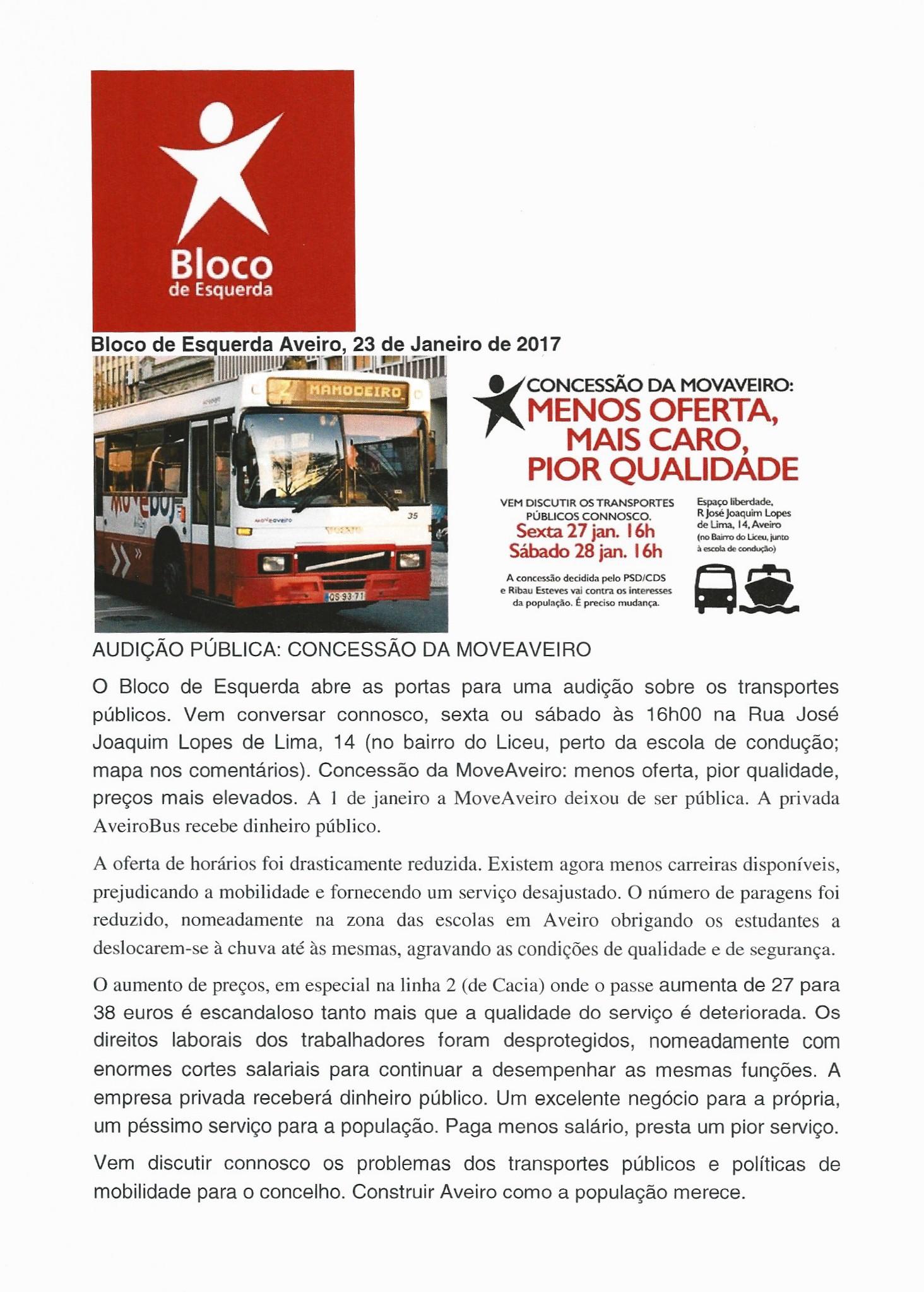 BLOCO DE ESQUERDA – AVEIRO – 2017 – EPHEMERA – Biblioteca e arquivo de José Pacheco Pereira