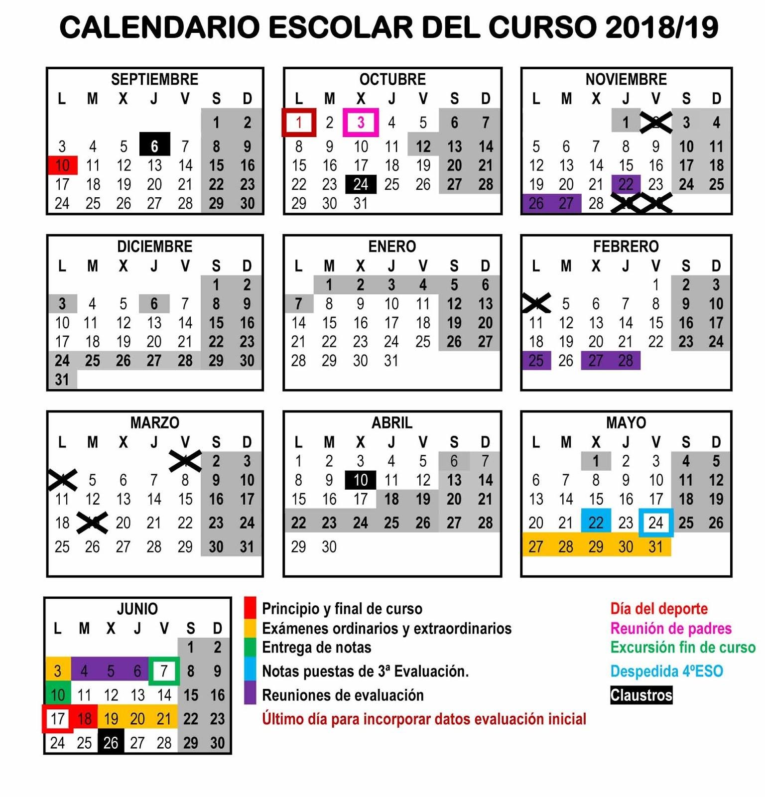 CALENDARIO 2018 2019