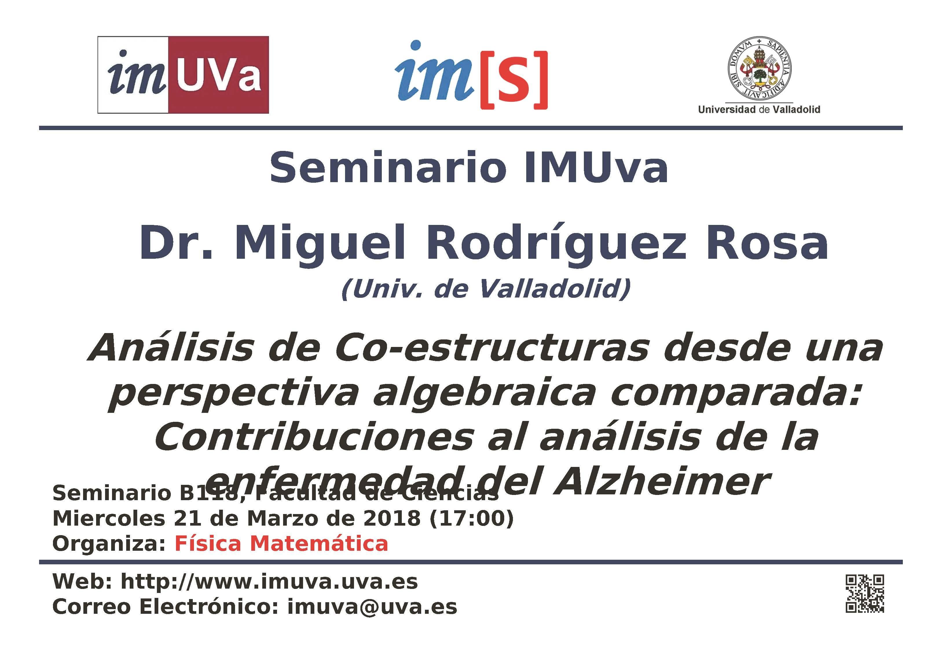 """Seminario IMUVa """"Análisis de Co estructuras desde una perspectiva algebraica parada Contribuciones al análisis de la enfermedad del Alzheimer"""""""