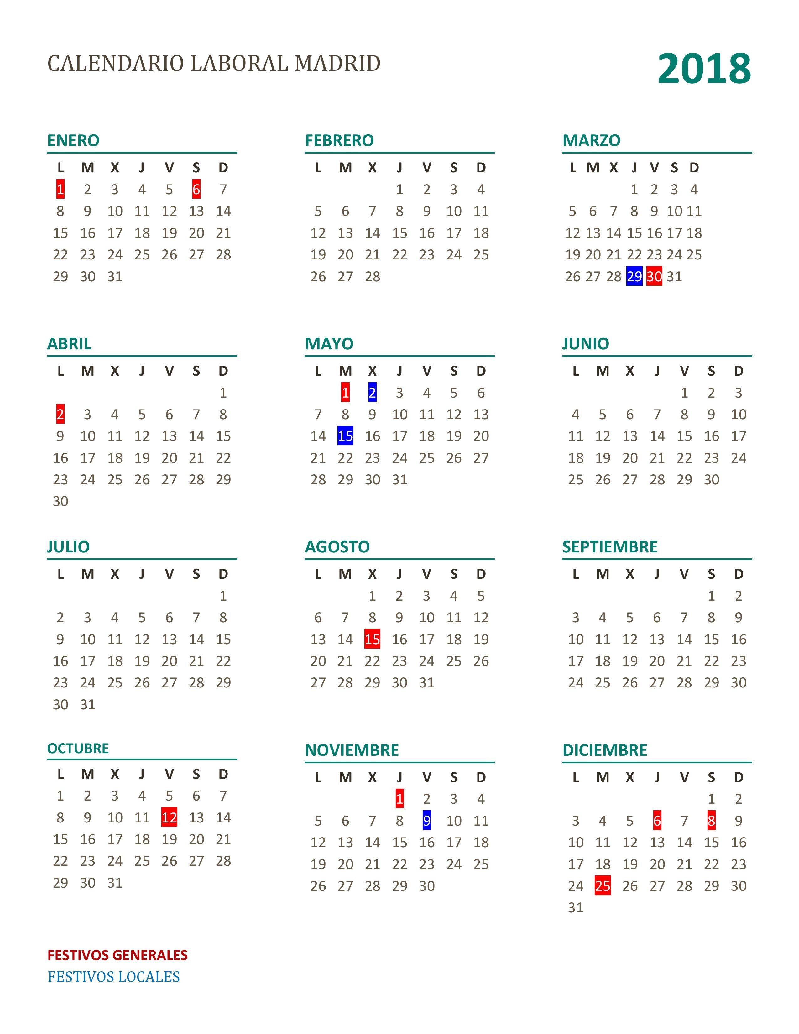 Calendario laboral 2018 de Madrid