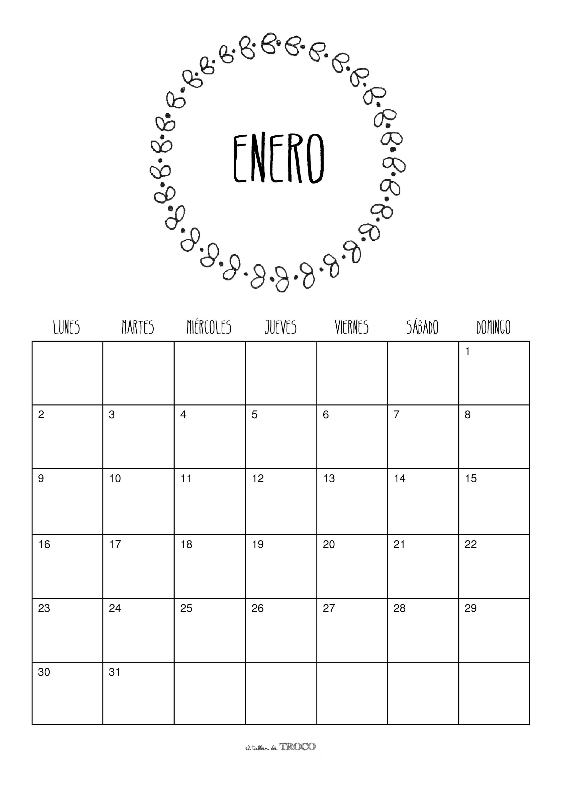 Calendario Enero Calendarios Mensuales Planificador Mensual Inicio De Clases Cosas Lindas