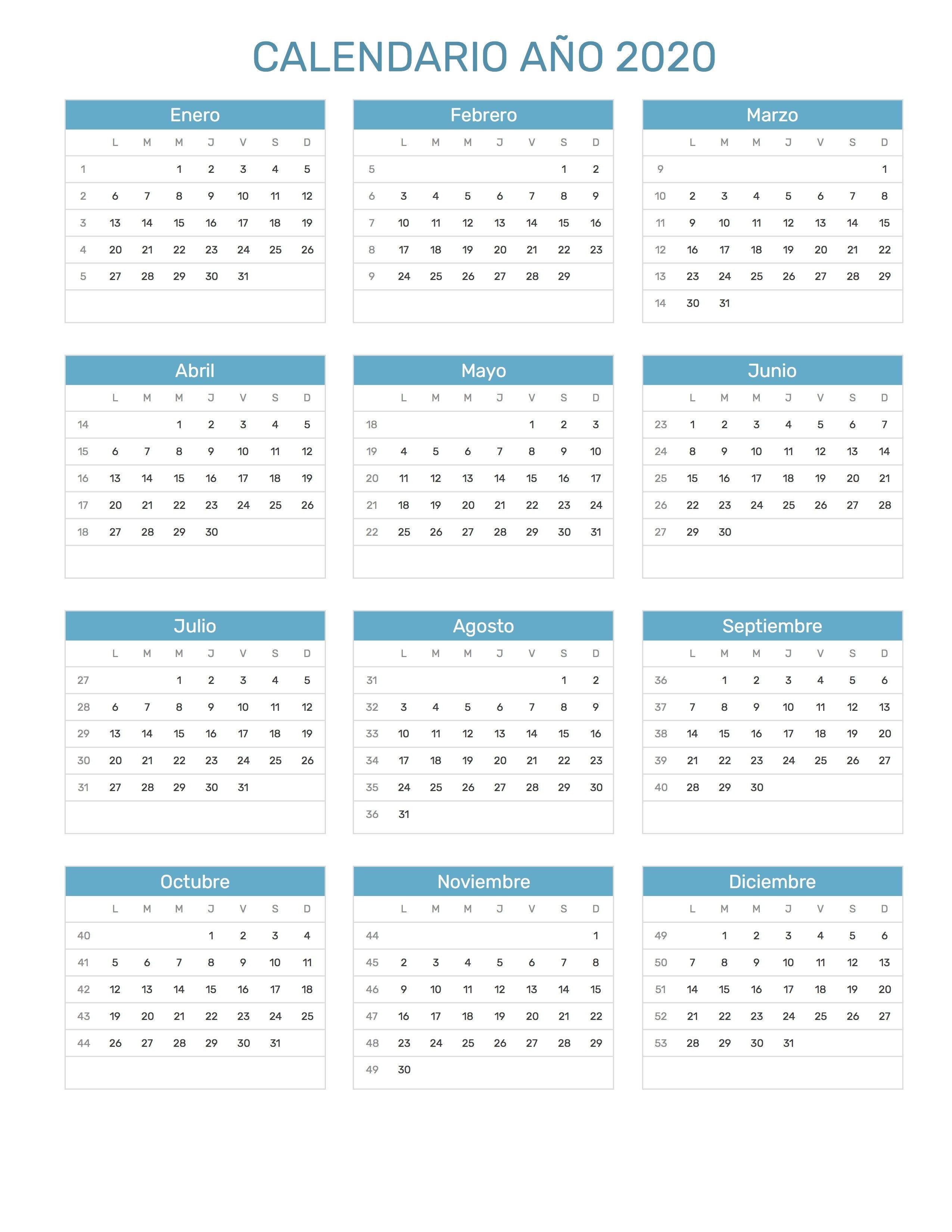 Pin de Calendario Hispano en Calendario con feriados a±o 2020