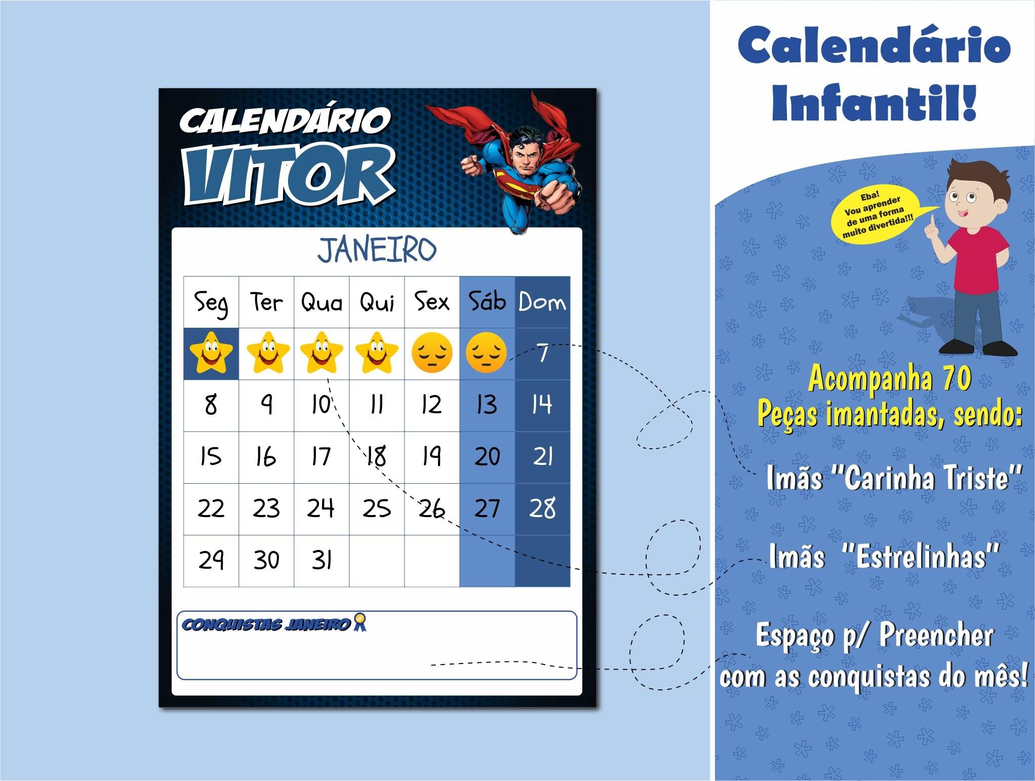 calendario infantil personalizado calendario 2018 calendario herois