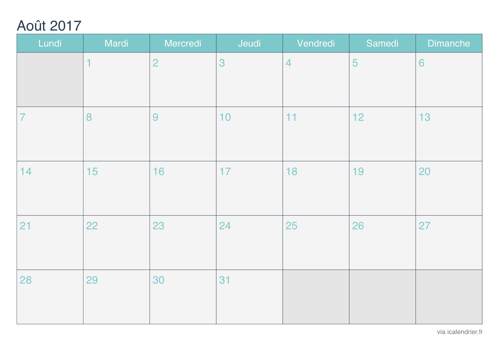 calendrier aout 2017 turquoise