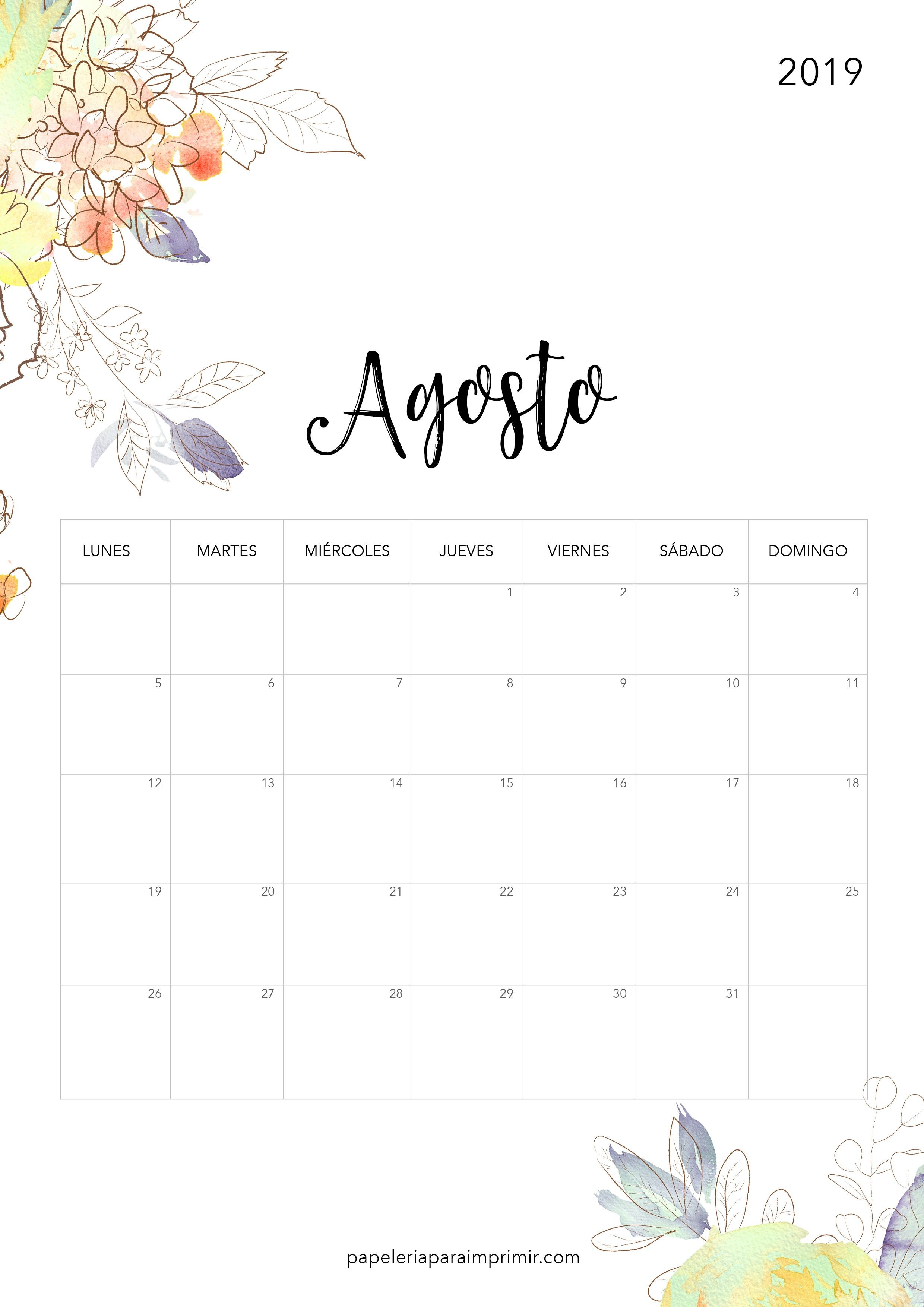 Calendario para imprimir 2019 Agosto calendario imprimir 2019 agosto august