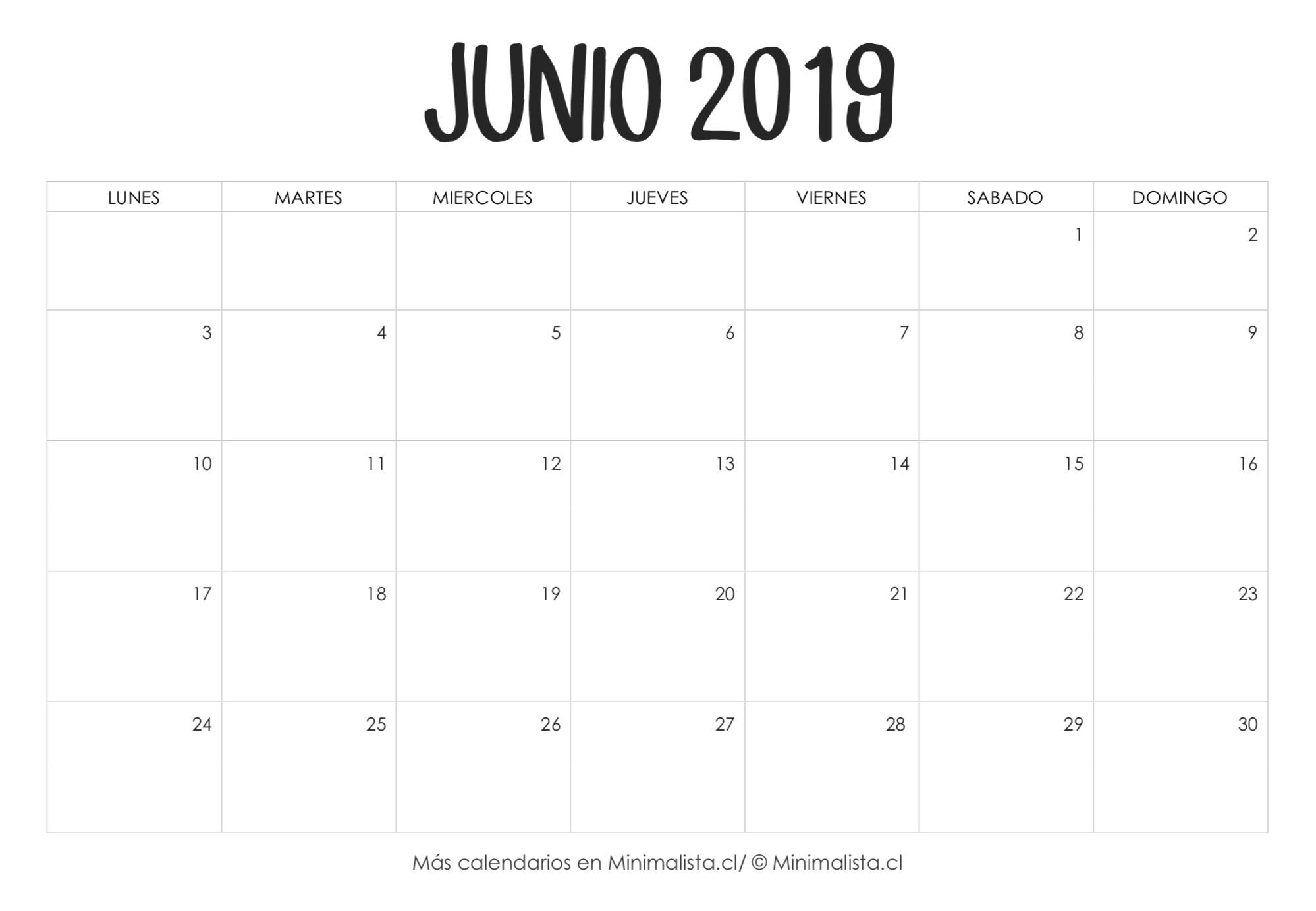 Calendario Junio 2019 para Imprimir