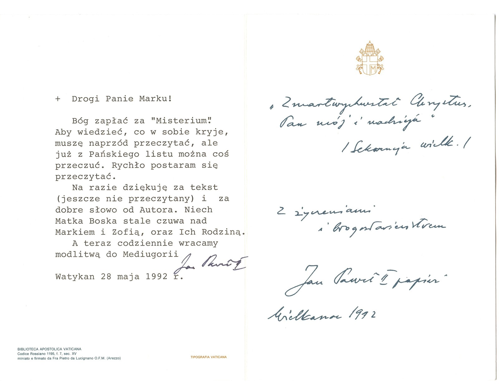 Carta del Santo Padre Juan Pablo II sobre Medjugorje