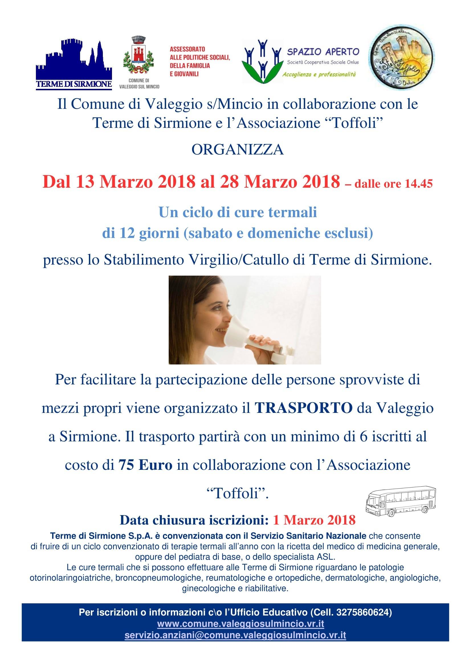 Sono aperte le iscrizioni per il ciclo di cure termali di 12 giorni a Sirmione dal 13 al 28 marzo 2018 Il une di Valeggio sul Mincio organizza