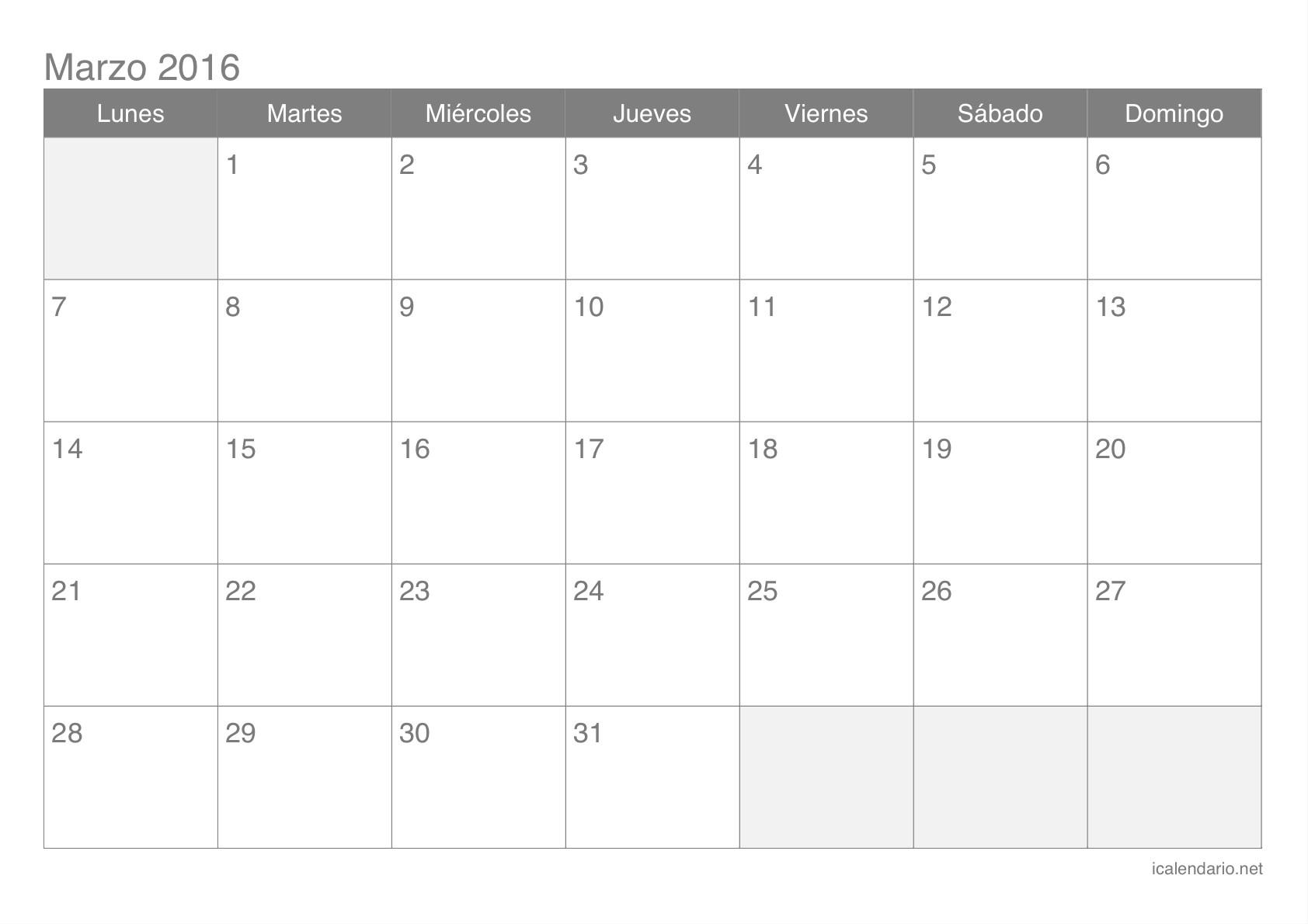 Calendario de marzo 2016 Calendario de marzo 2016