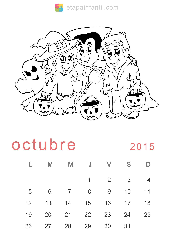 colorear octubre calendario para imprimir y colorear