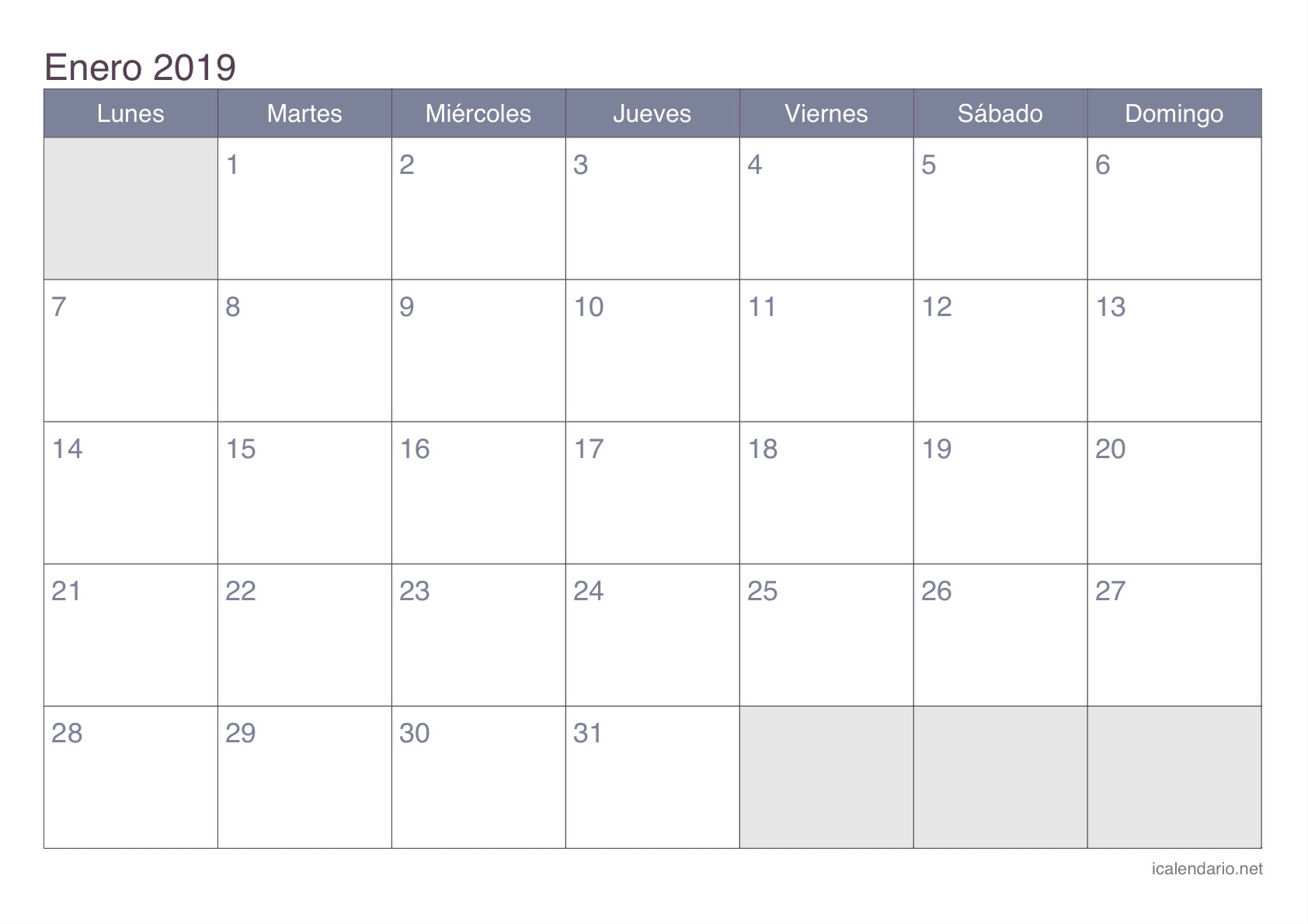 Calendario enero 2019 para imprimir iCalendario net