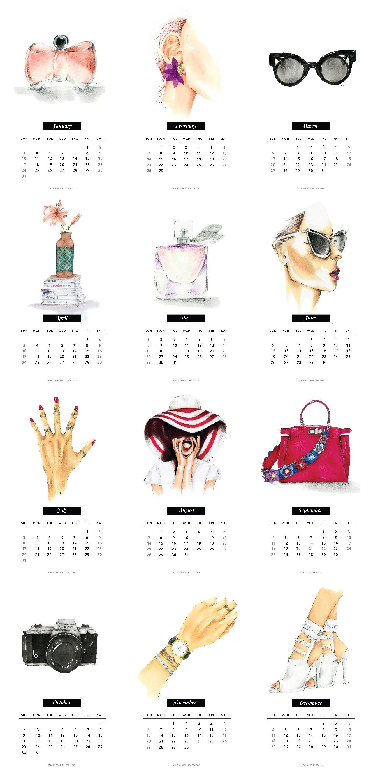 Free Printable Fashion Calendar 2016 The Key ItemThe Key Item Calendarios Organizador Organizador Semanal