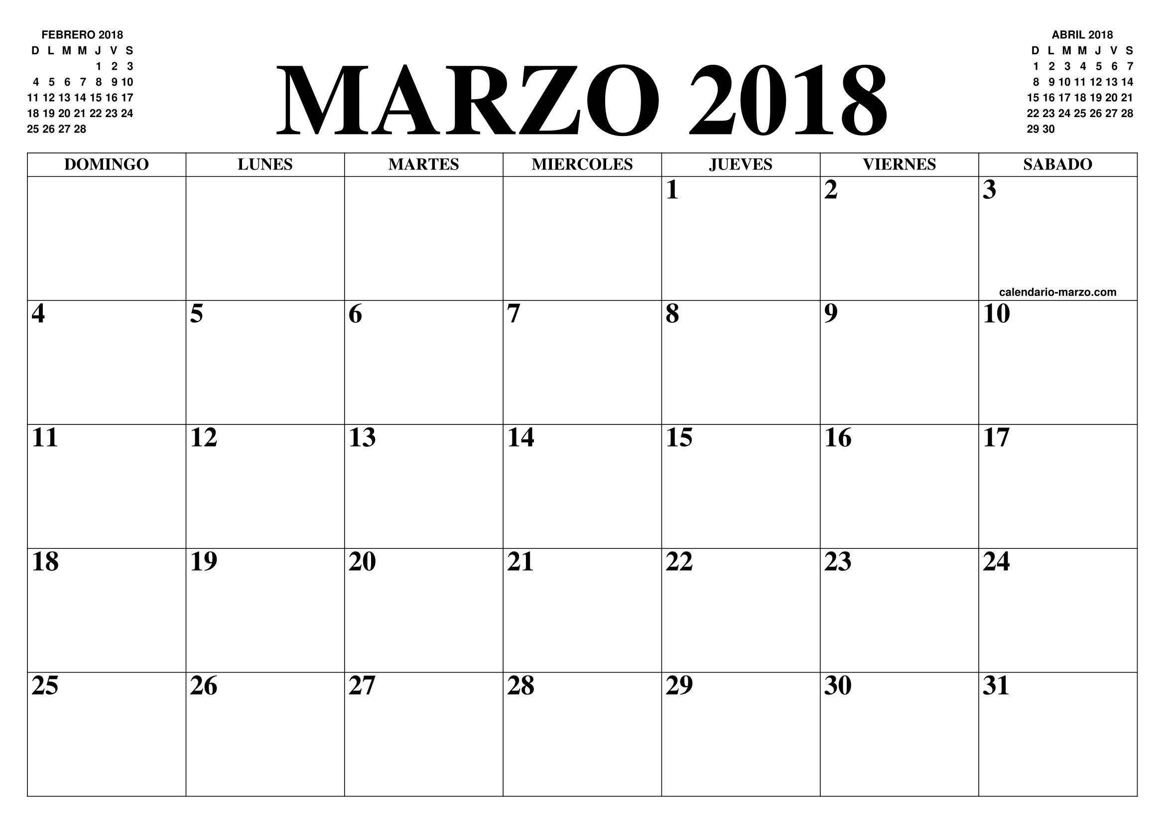 CALENDARIO MARZO 2018 2019 EL CALENDARIO MARZO 2018 2019 PARA IMPRIMIR GRATIS