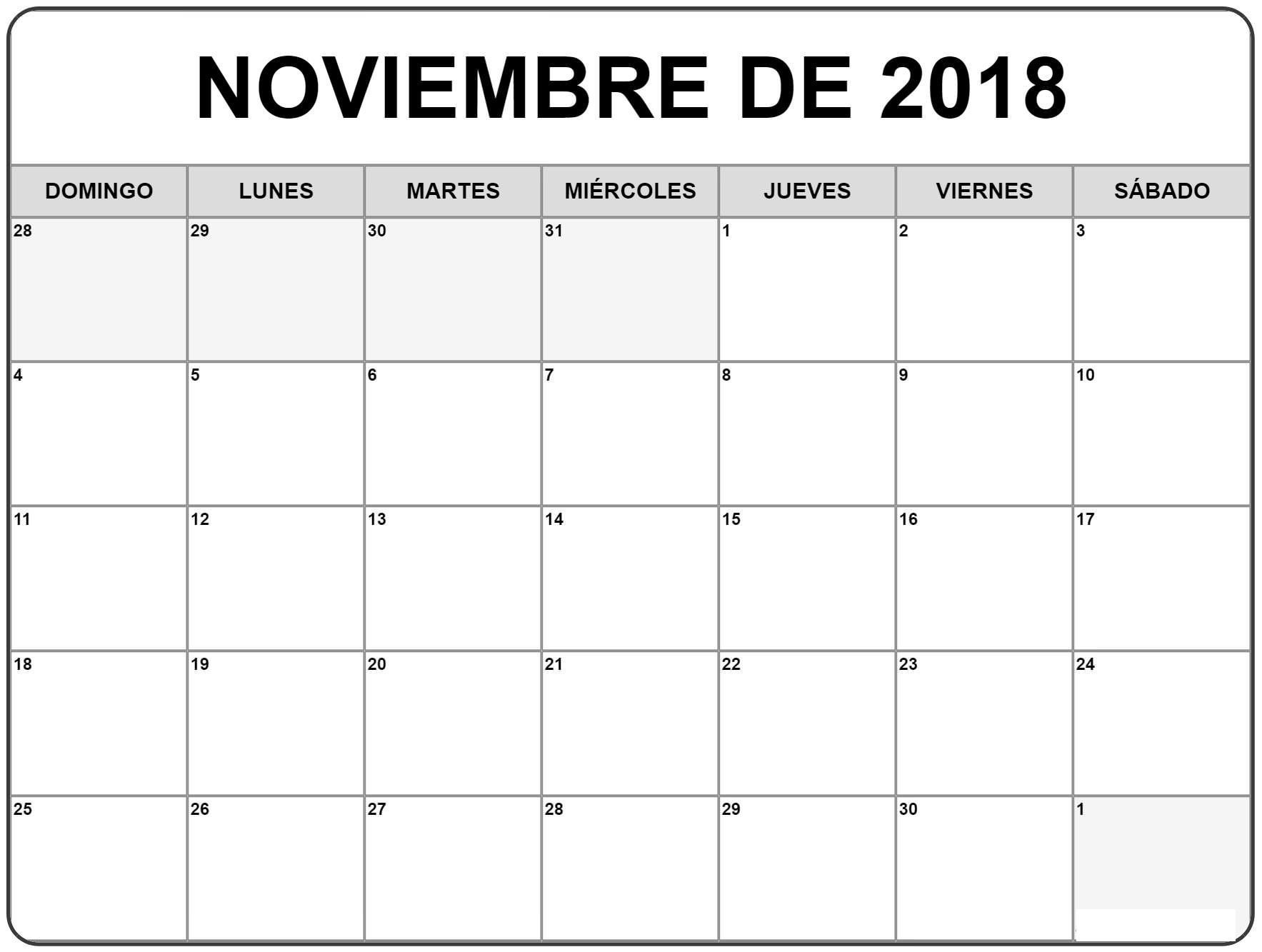 Calendario Noviembre 2018 Para Imprimir Excel Chile Pdf Calendar 2018 November