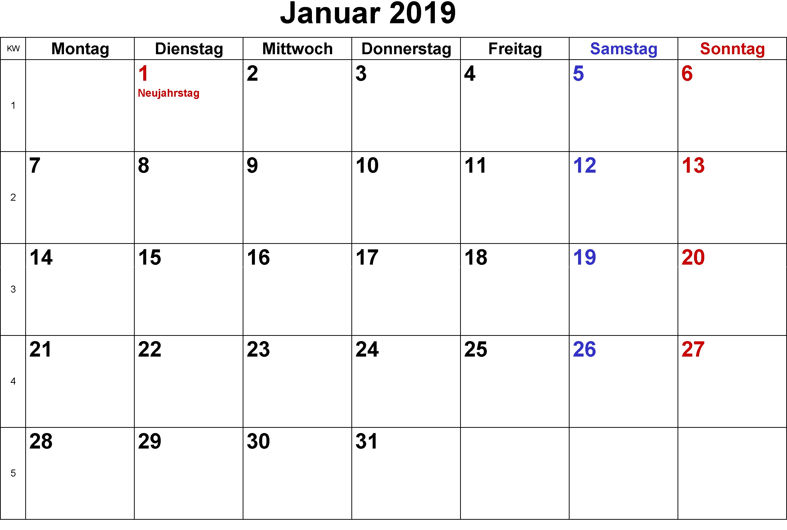 Kalender Januar 2019 Mit Feiertagen