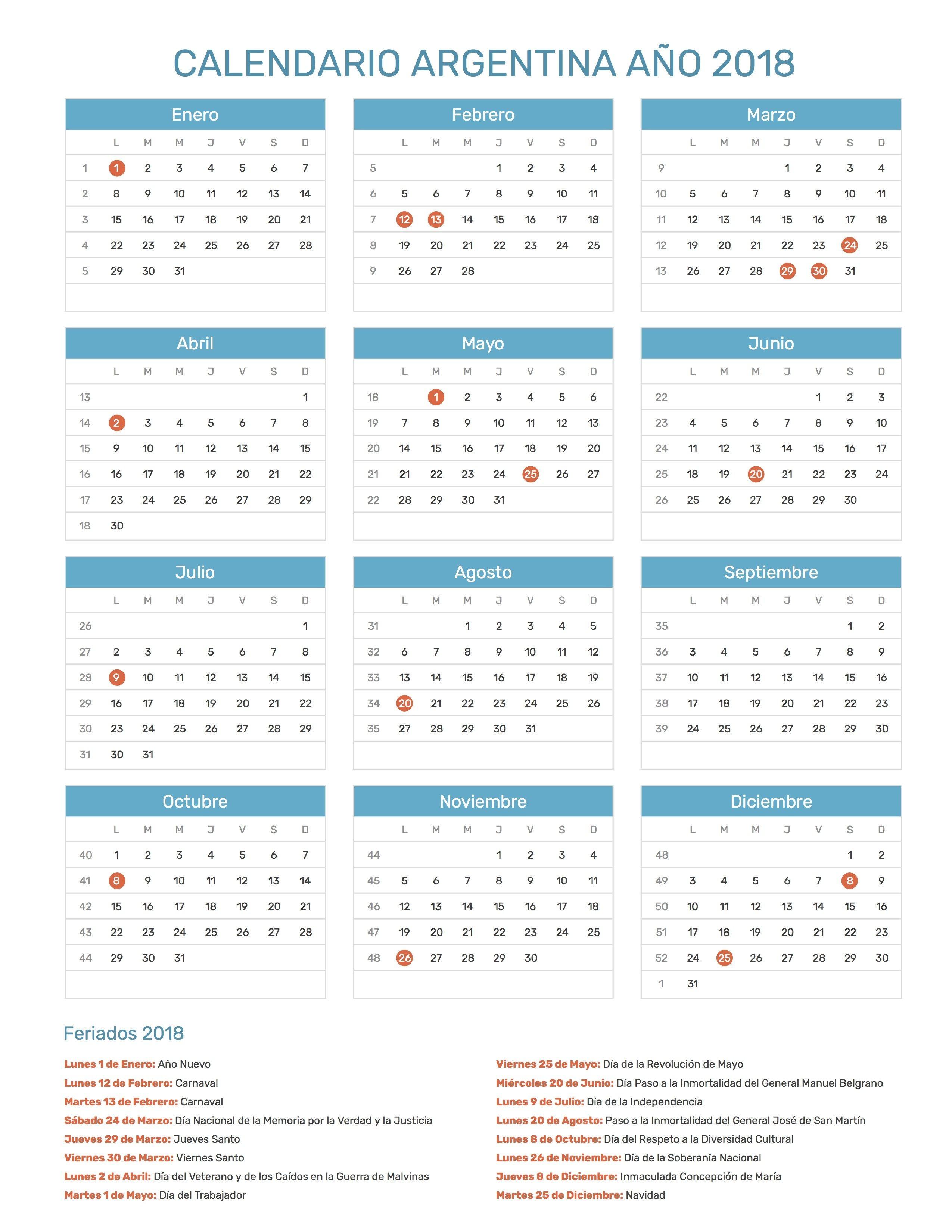 Resultado de imagen para calendario 2018 para imprimir