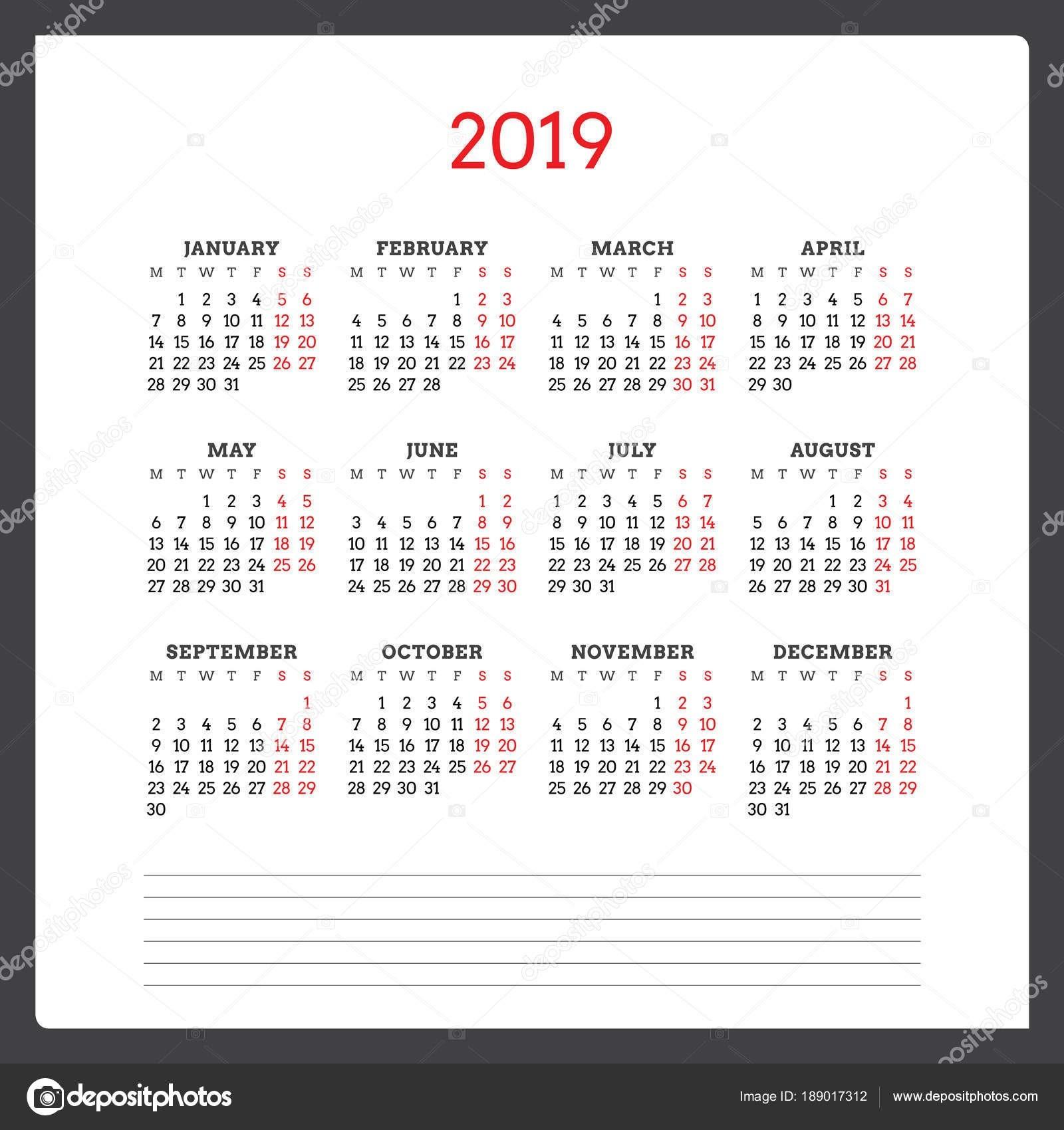 """Kalendá…â""""¢ na rok 2019 T½den za"""" ná v pond""""›l … ablona návrhu …"""